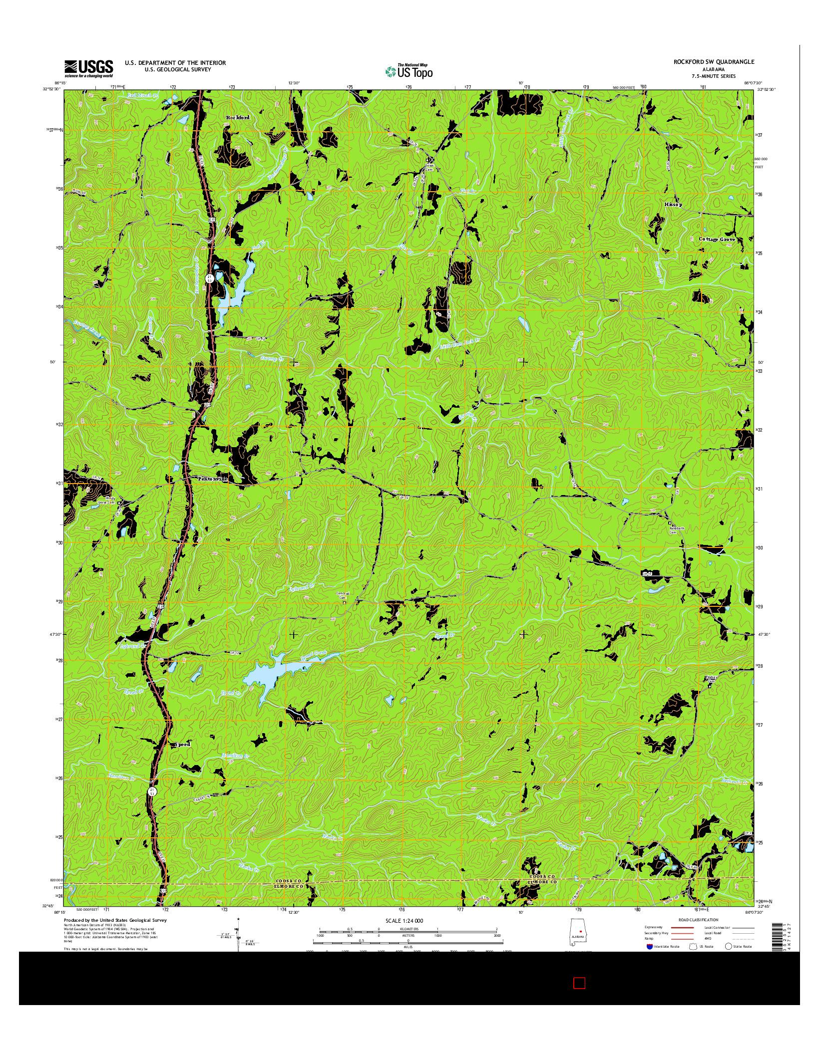 USGS US TOPO 7.5-MINUTE MAP FOR ROCKFORD SW, AL 2014