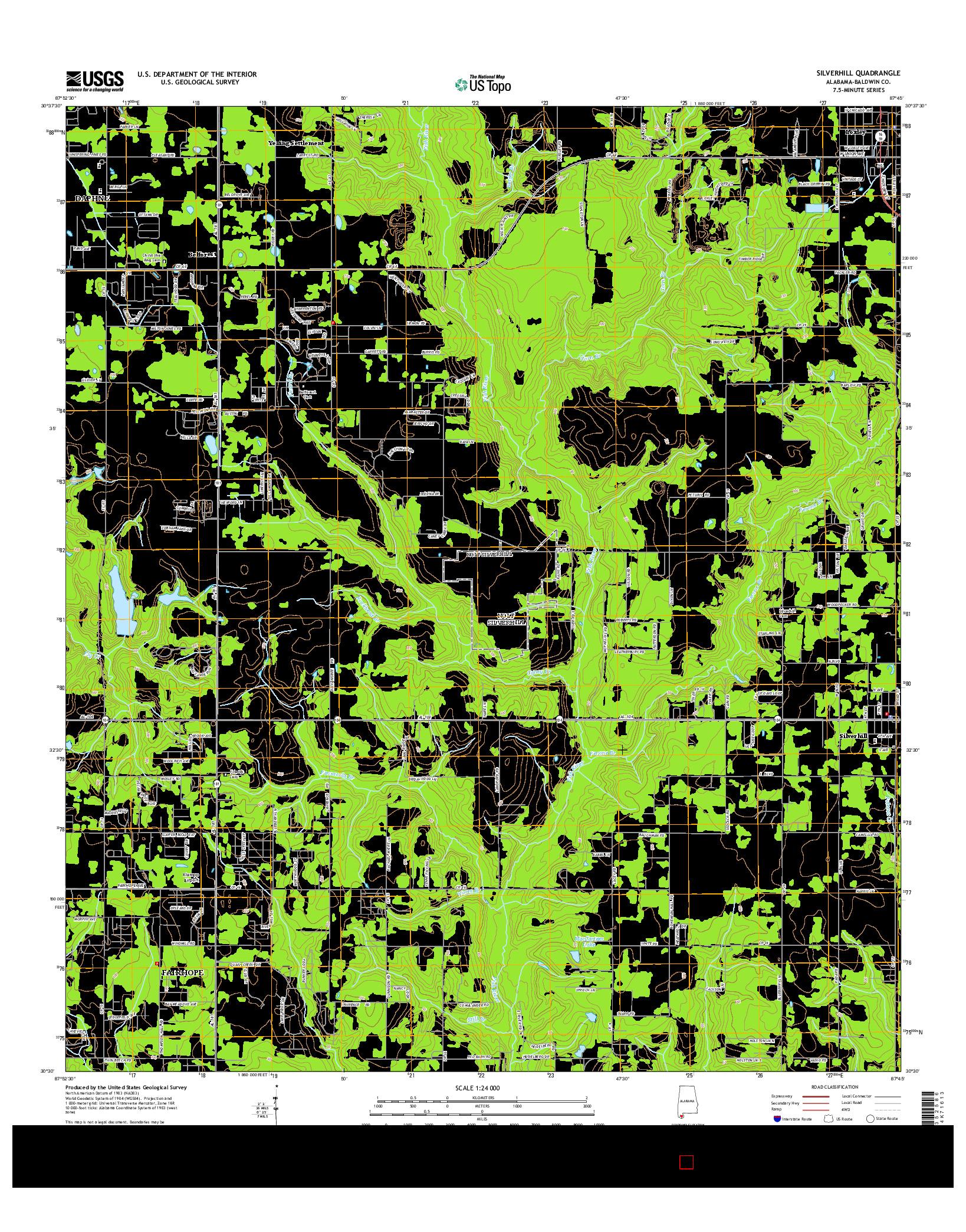 USGS US TOPO 7.5-MINUTE MAP FOR SILVERHILL, AL 2014