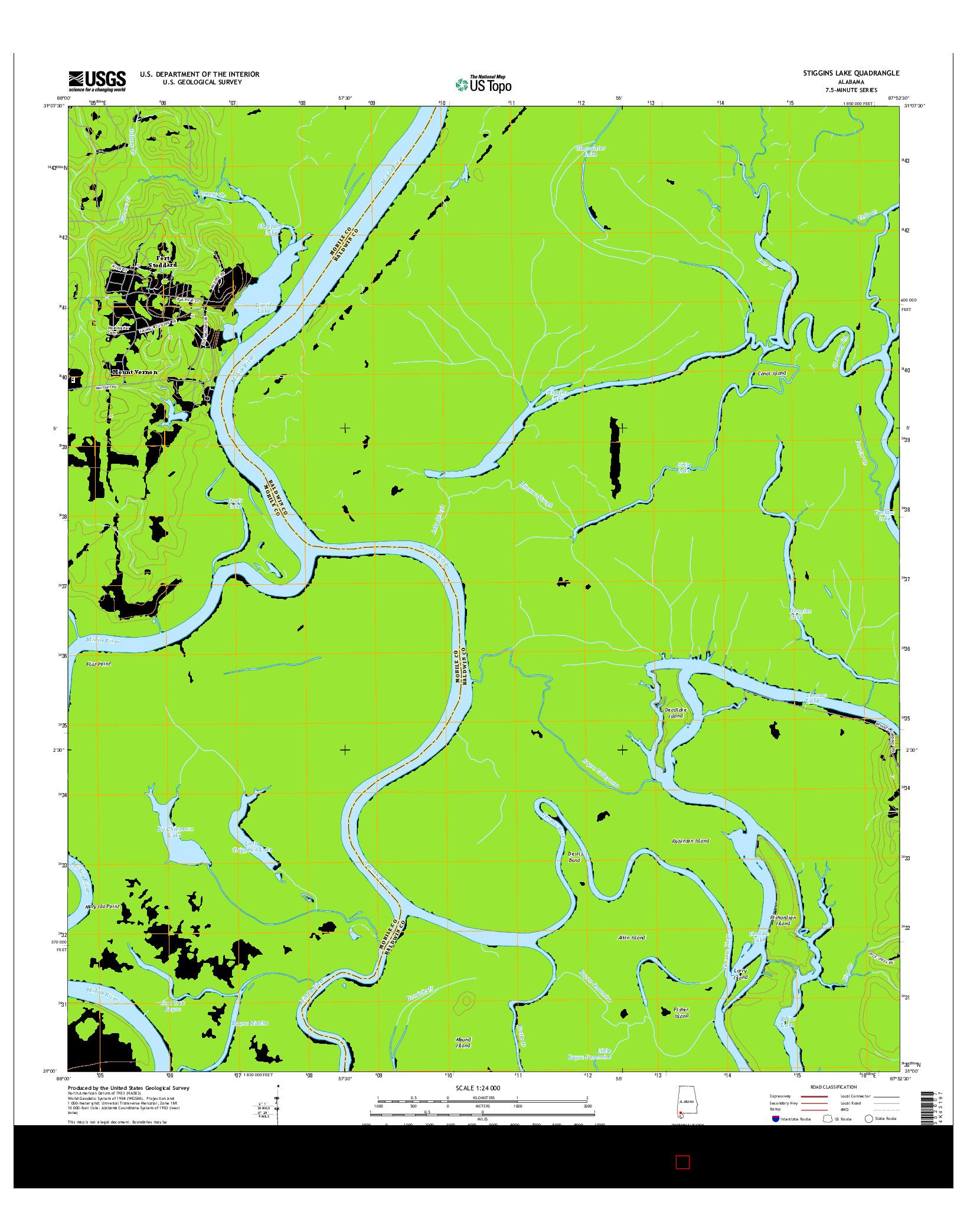 USGS US TOPO 7.5-MINUTE MAP FOR STIGGINS LAKE, AL 2014