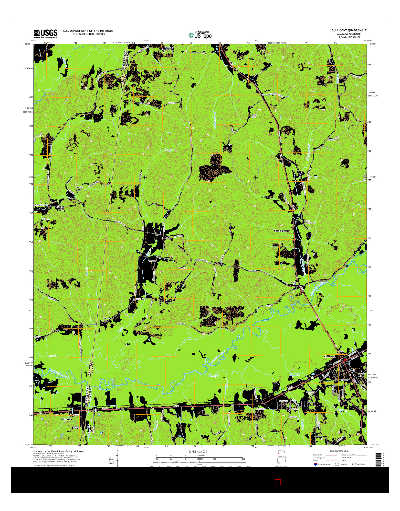 USGS US TOPO 7.5-MINUTE MAP FOR SULLIGENT, AL-MS 2014