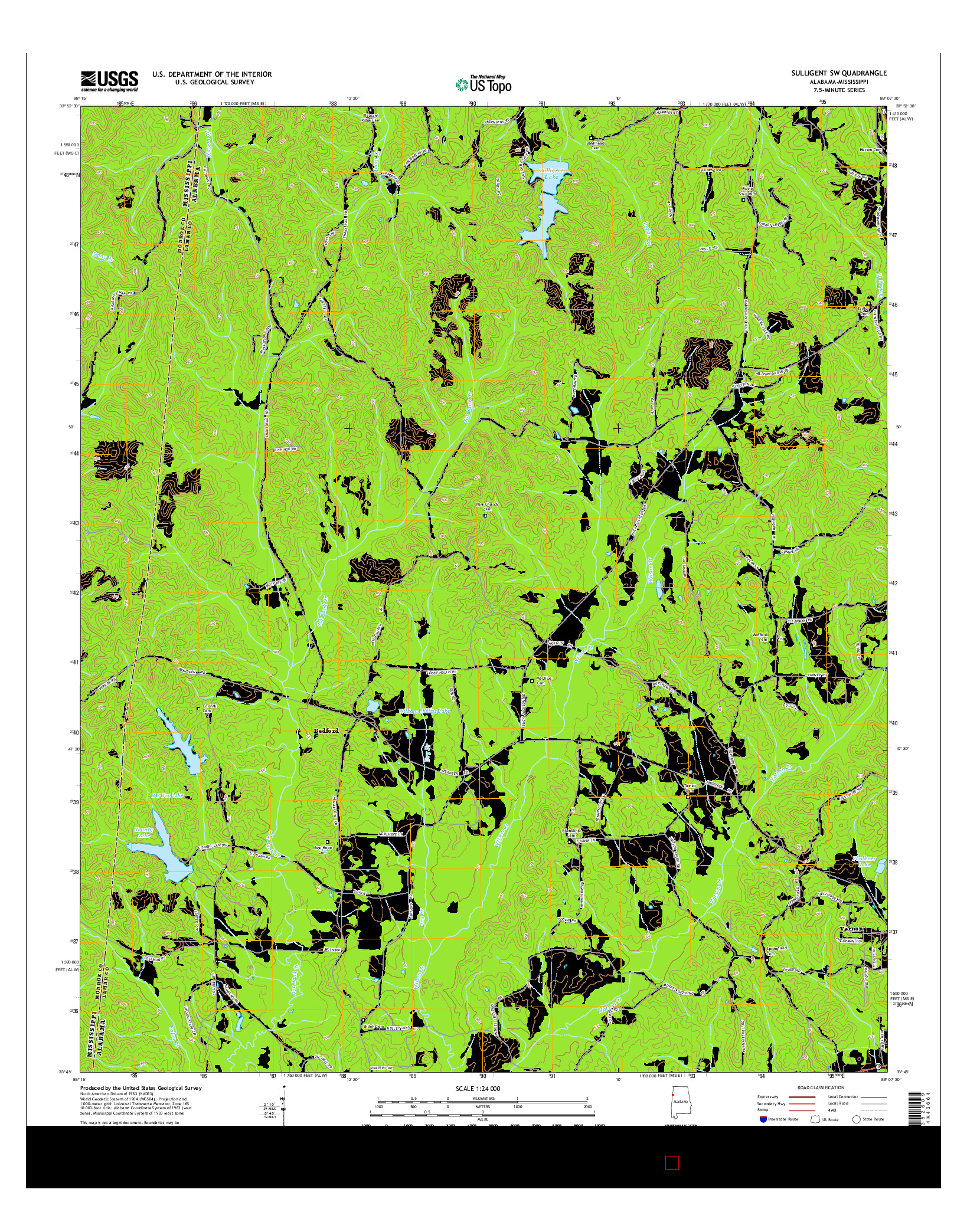 USGS US TOPO 7.5-MINUTE MAP FOR SULLIGENT SW, AL-MS 2014
