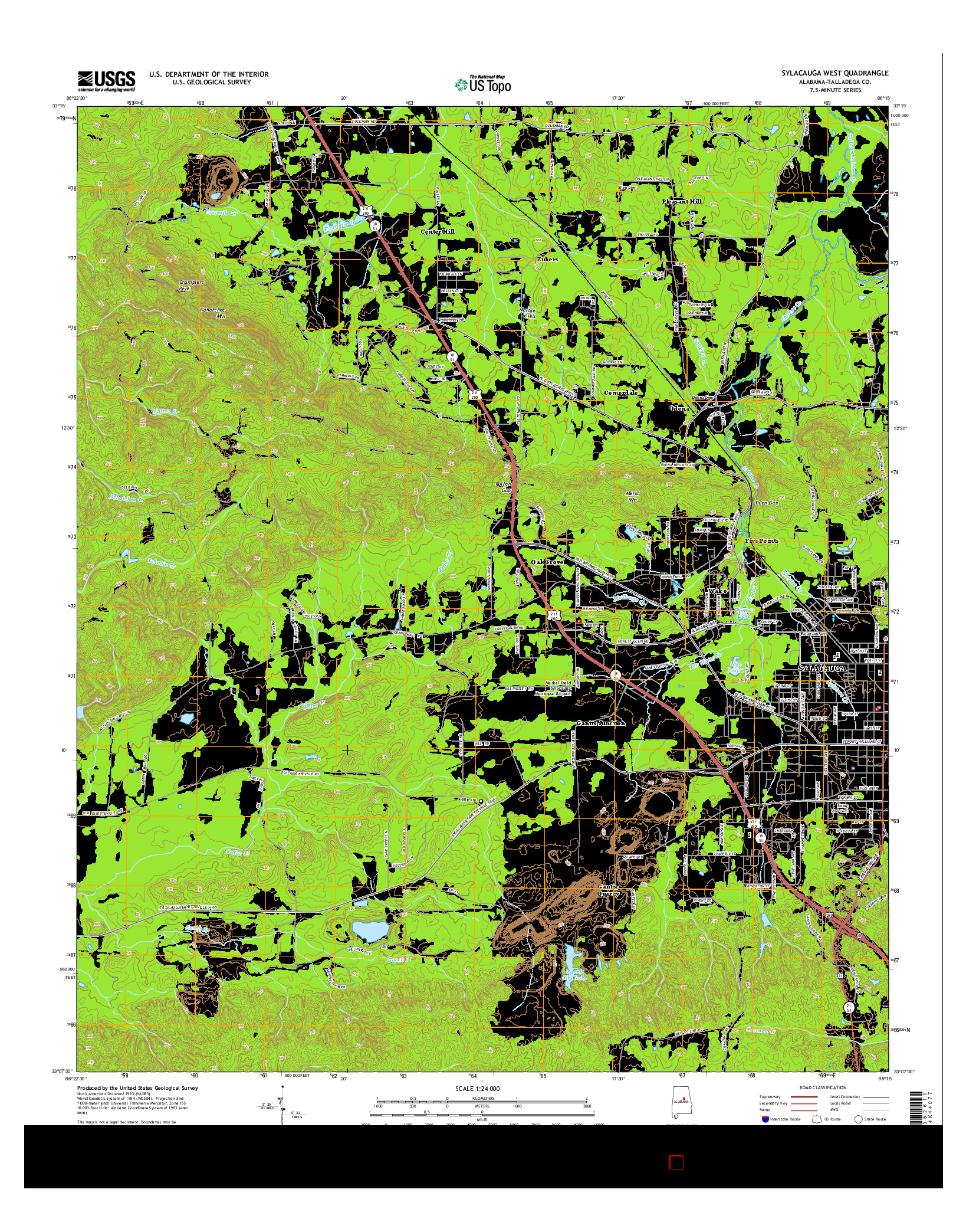 USGS US TOPO 7.5-MINUTE MAP FOR SYLACAUGA WEST, AL 2014