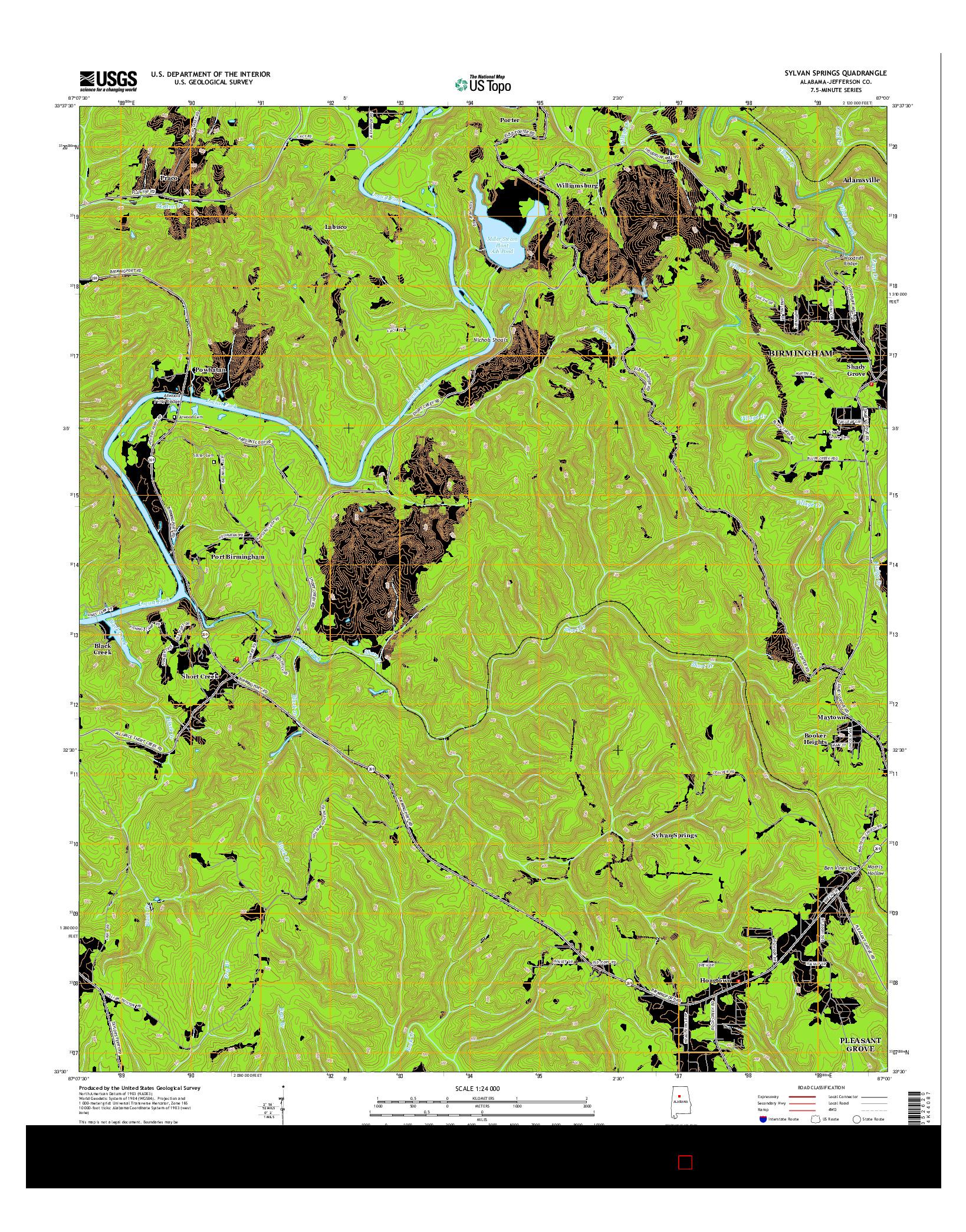 USGS US TOPO 7.5-MINUTE MAP FOR SYLVAN SPRINGS, AL 2014