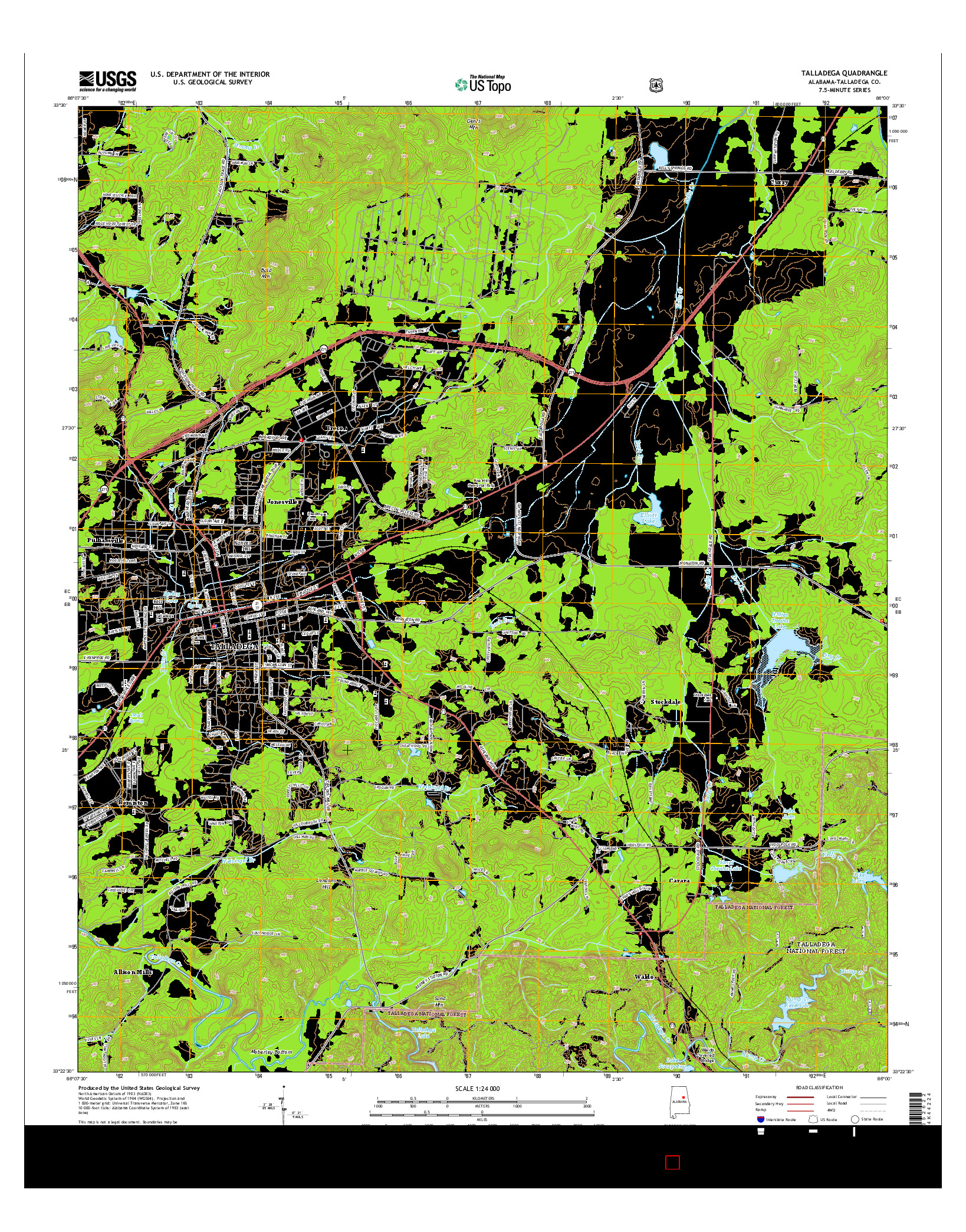 USGS US TOPO 7.5-MINUTE MAP FOR TALLADEGA, AL 2014
