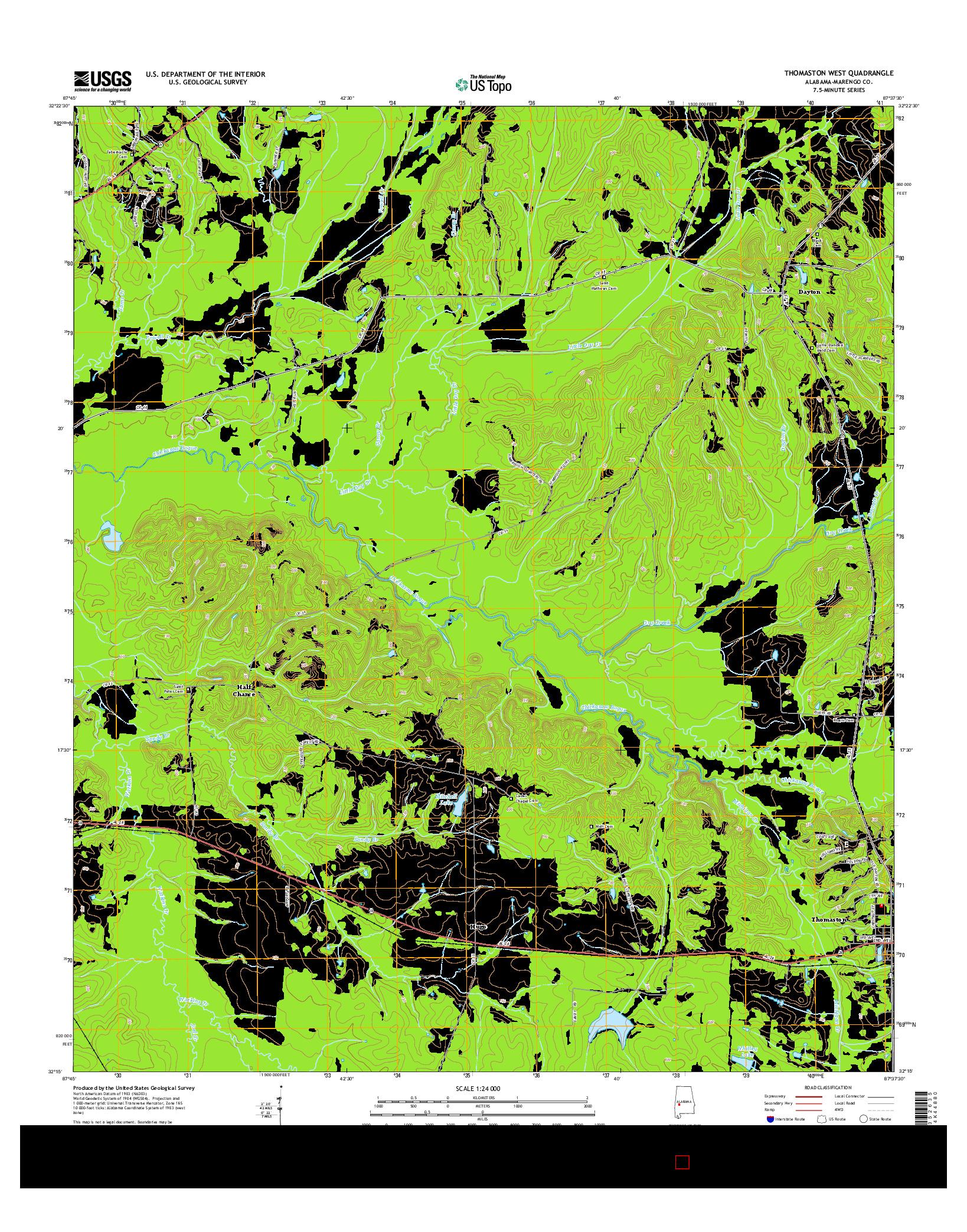USGS US TOPO 7.5-MINUTE MAP FOR THOMASTON WEST, AL 2014