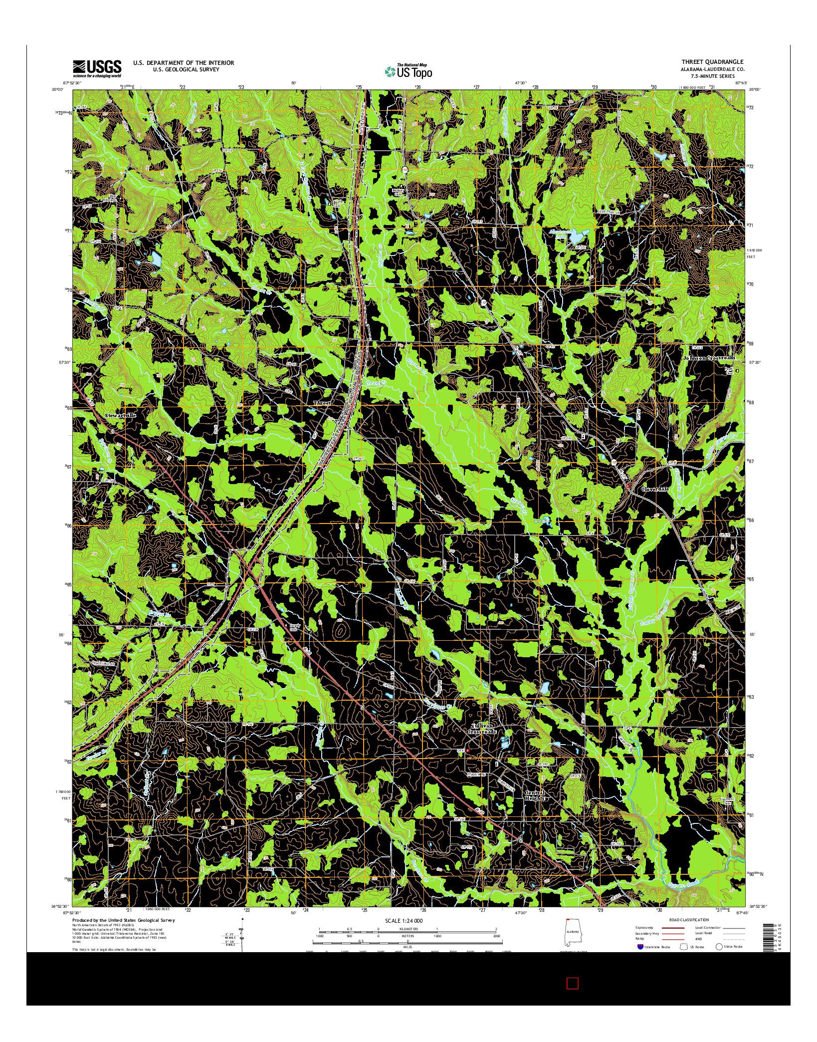 USGS US TOPO 7.5-MINUTE MAP FOR THREET, AL 2014