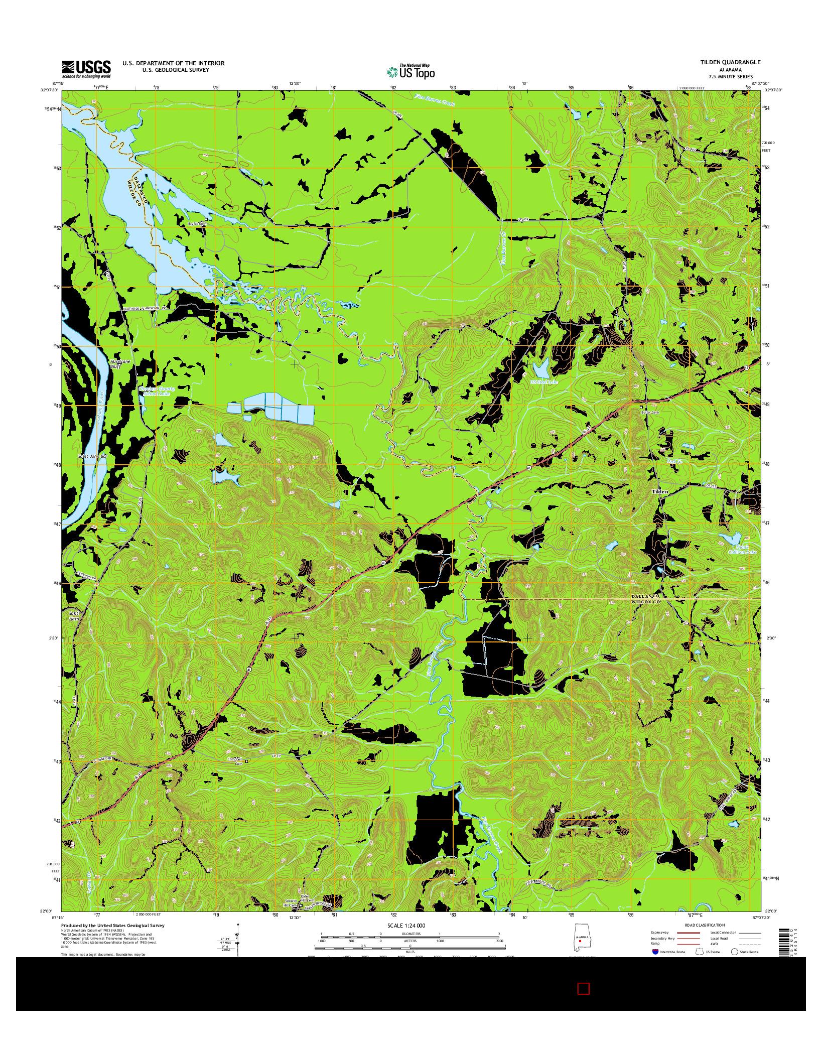 USGS US TOPO 7.5-MINUTE MAP FOR TILDEN, AL 2014