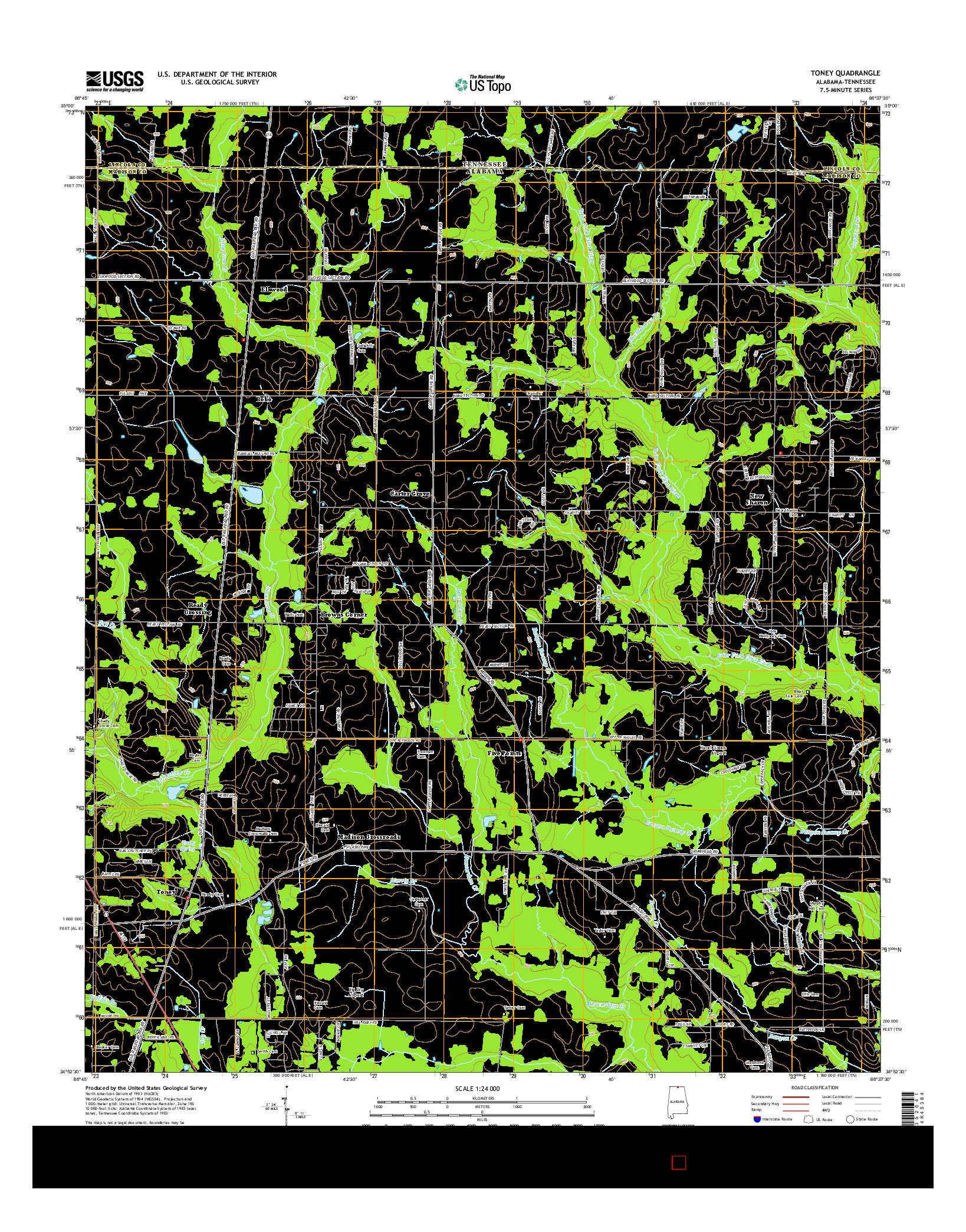 USGS US TOPO 7.5-MINUTE MAP FOR TONEY, AL-TN 2014