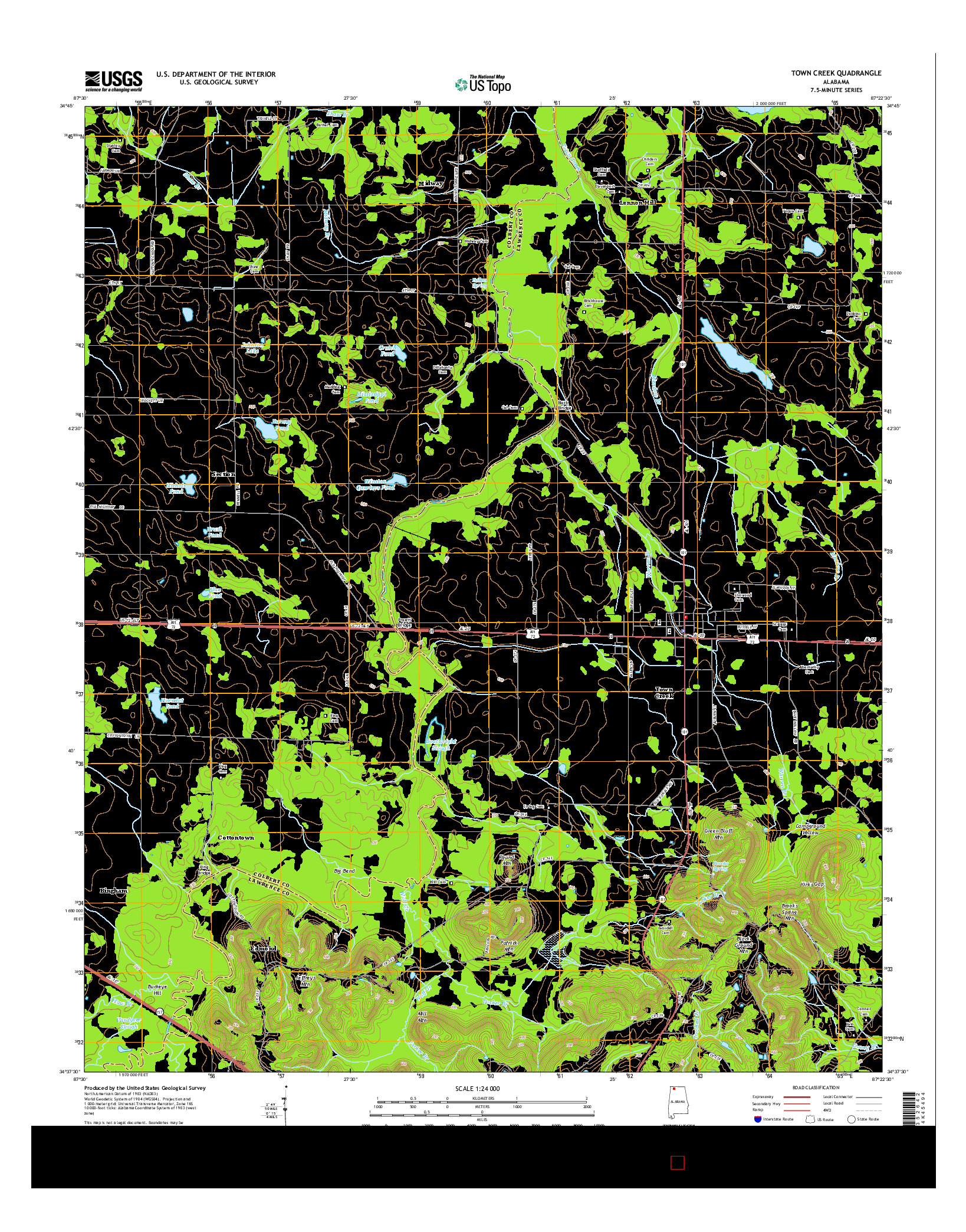 USGS US TOPO 7.5-MINUTE MAP FOR TOWN CREEK, AL 2014