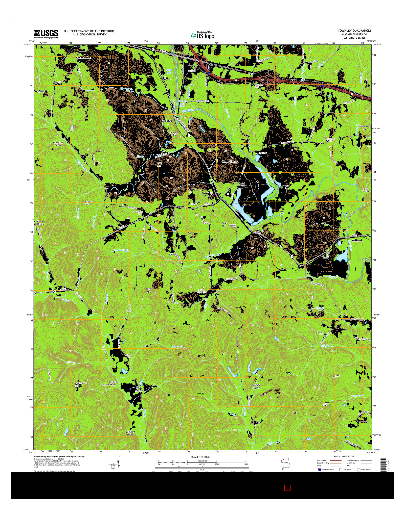 USGS US TOPO 7.5-MINUTE MAP FOR TOWNLEY, AL 2014