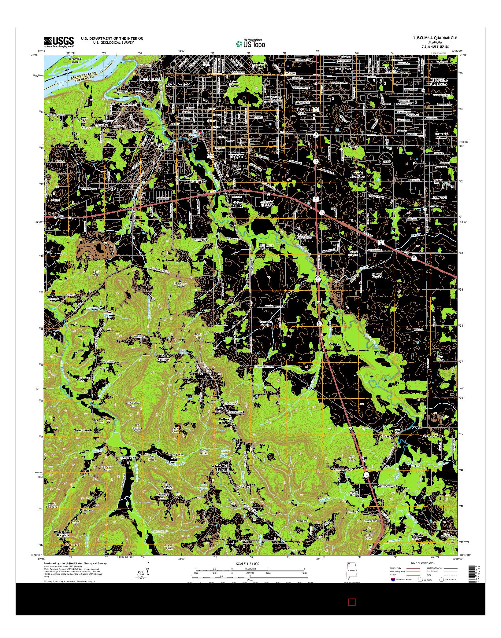 USGS US TOPO 7.5-MINUTE MAP FOR TUSCUMBIA, AL 2014
