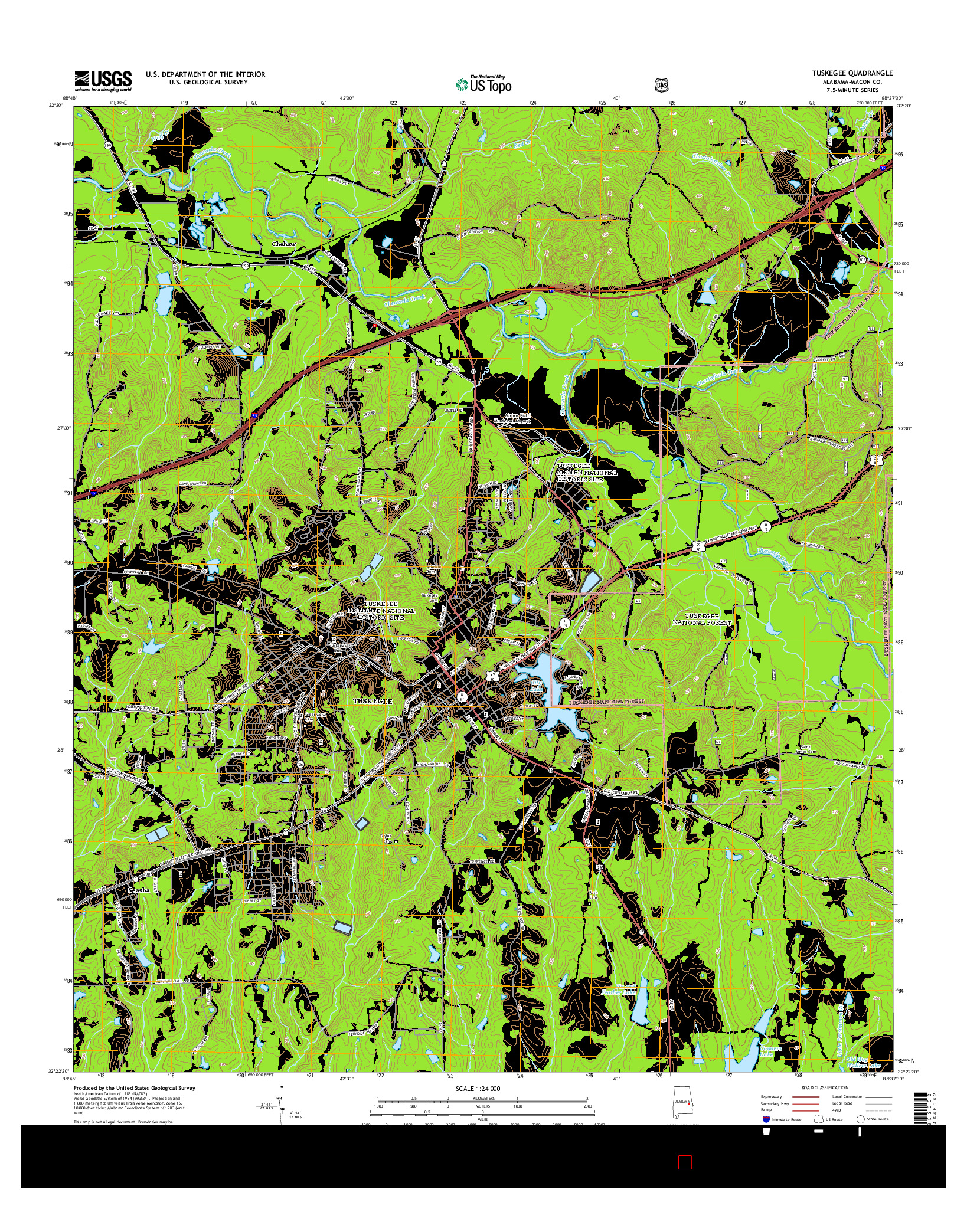 USGS US TOPO 7.5-MINUTE MAP FOR TUSKEGEE, AL 2014