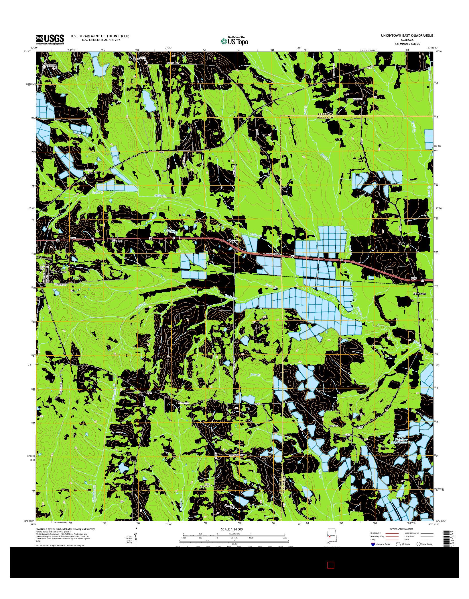 USGS US TOPO 7.5-MINUTE MAP FOR UNIONTOWN EAST, AL 2014