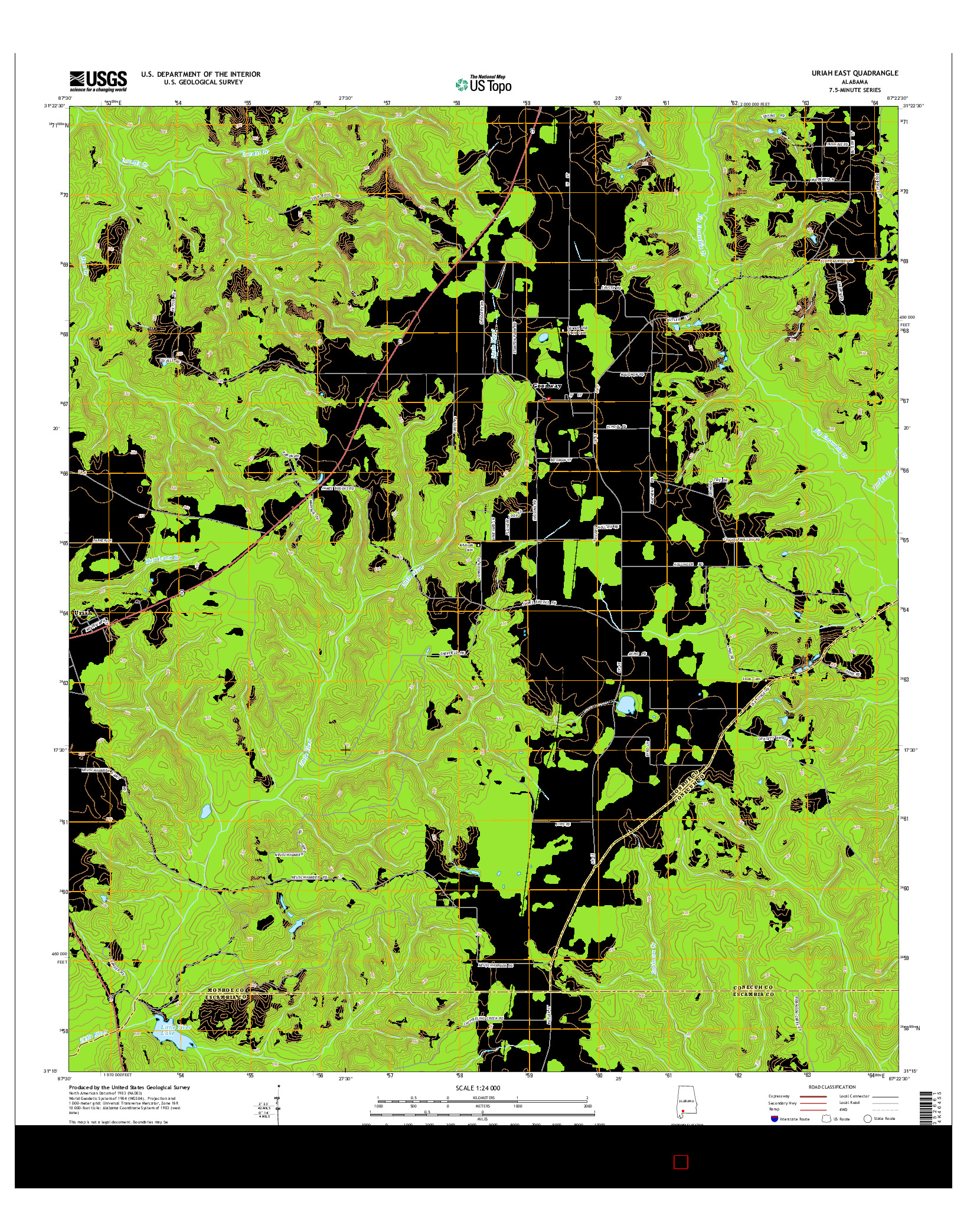 USGS US TOPO 7.5-MINUTE MAP FOR URIAH EAST, AL 2014