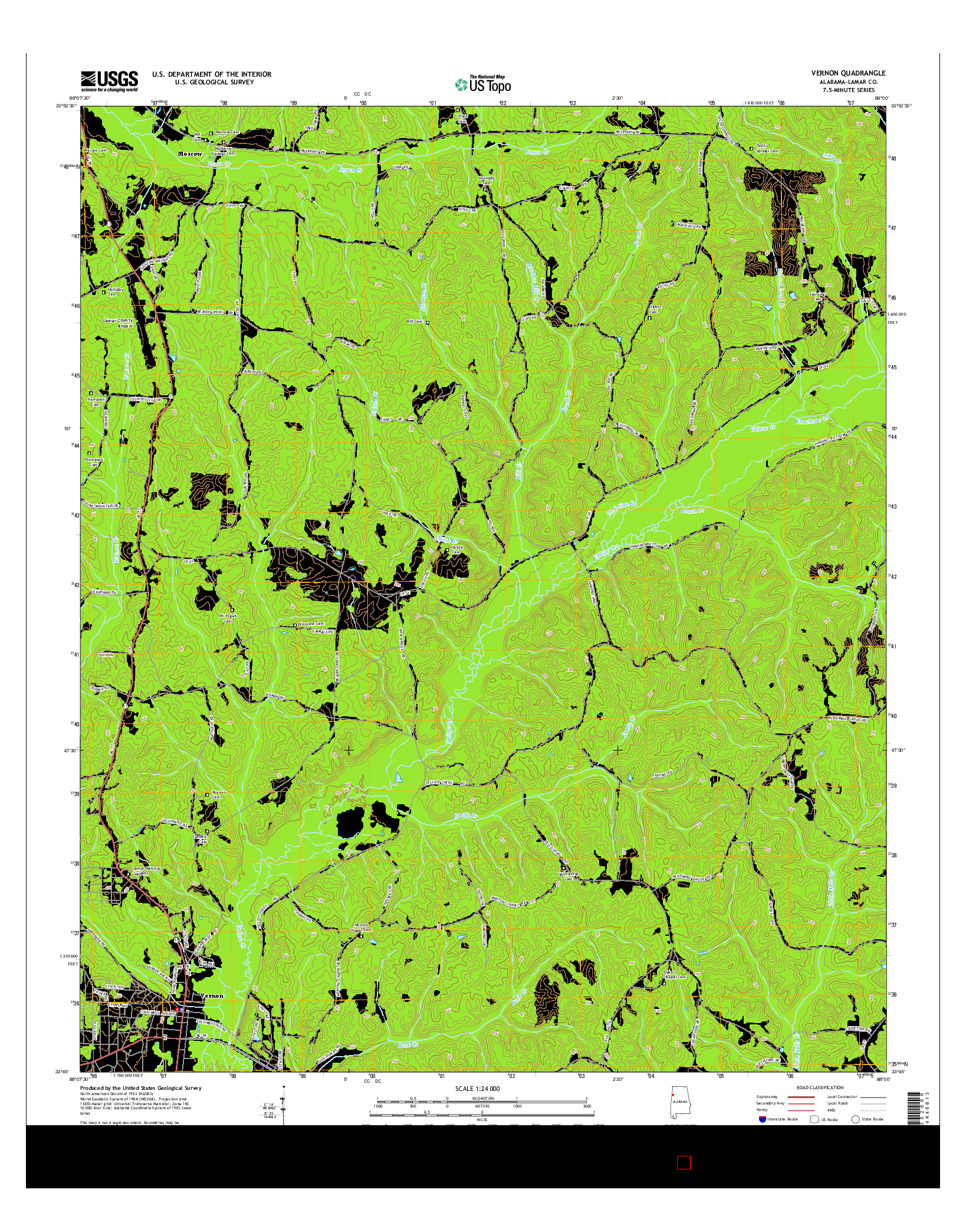 USGS US TOPO 7.5-MINUTE MAP FOR VERNON, AL 2014