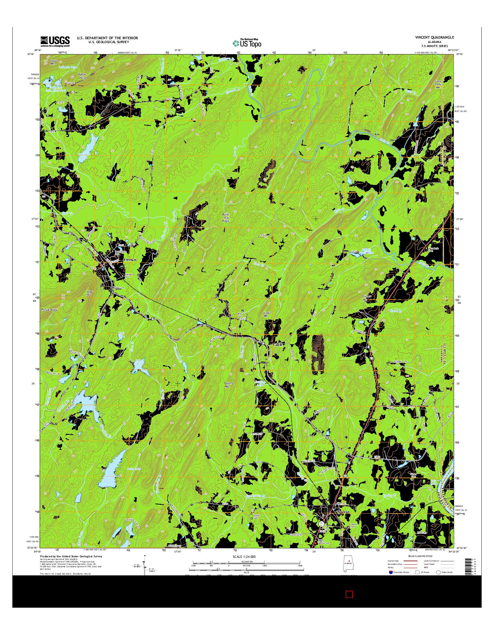 USGS US TOPO 7.5-MINUTE MAP FOR VINCENT, AL 2014