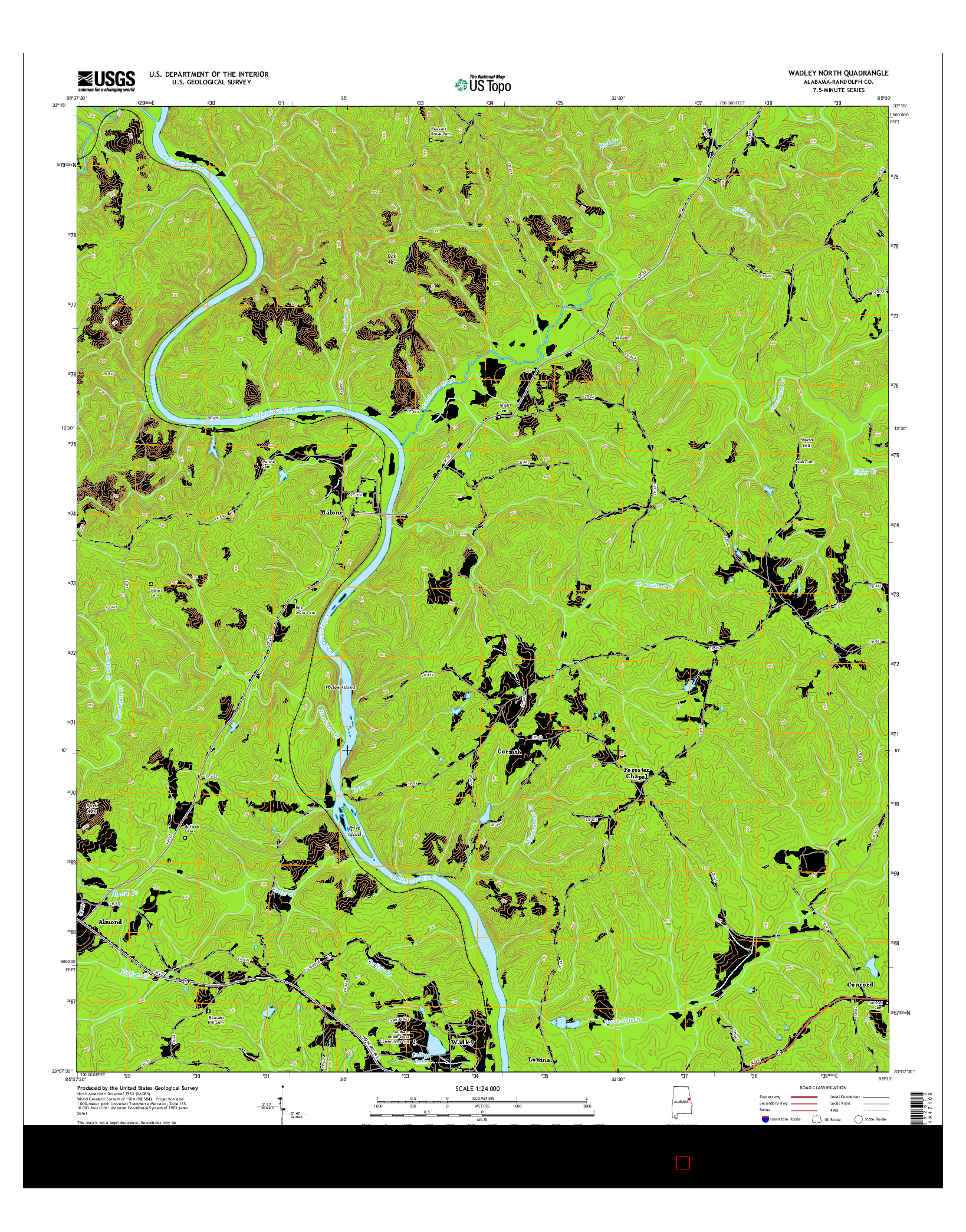 USGS US TOPO 7.5-MINUTE MAP FOR WADLEY NORTH, AL 2014