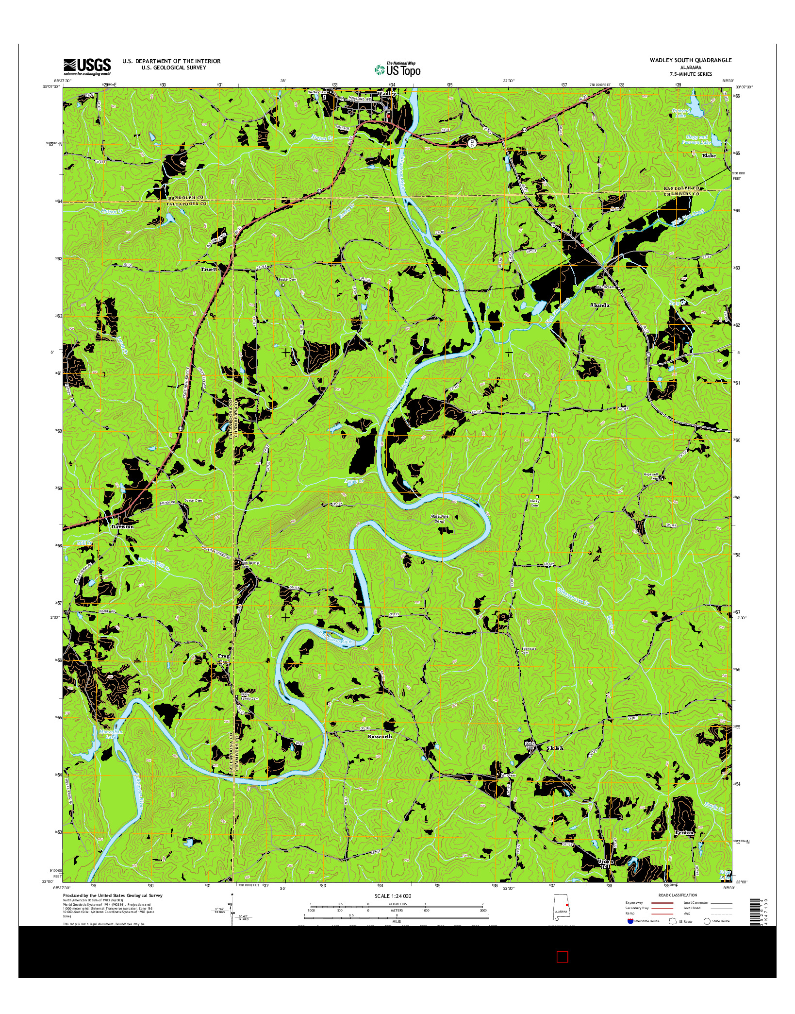 USGS US TOPO 7.5-MINUTE MAP FOR WADLEY SOUTH, AL 2014