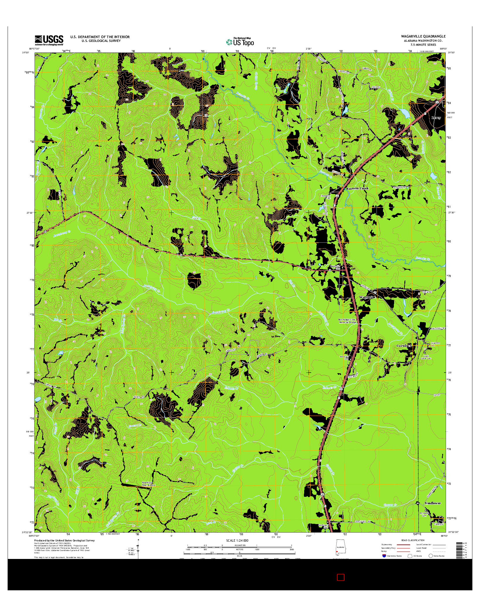 USGS US TOPO 7.5-MINUTE MAP FOR WAGARVILLE, AL 2014
