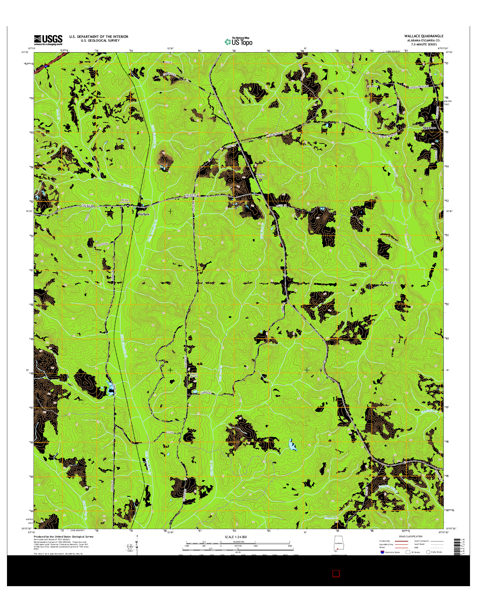 USGS US TOPO 7.5-MINUTE MAP FOR WALLACE, AL 2014