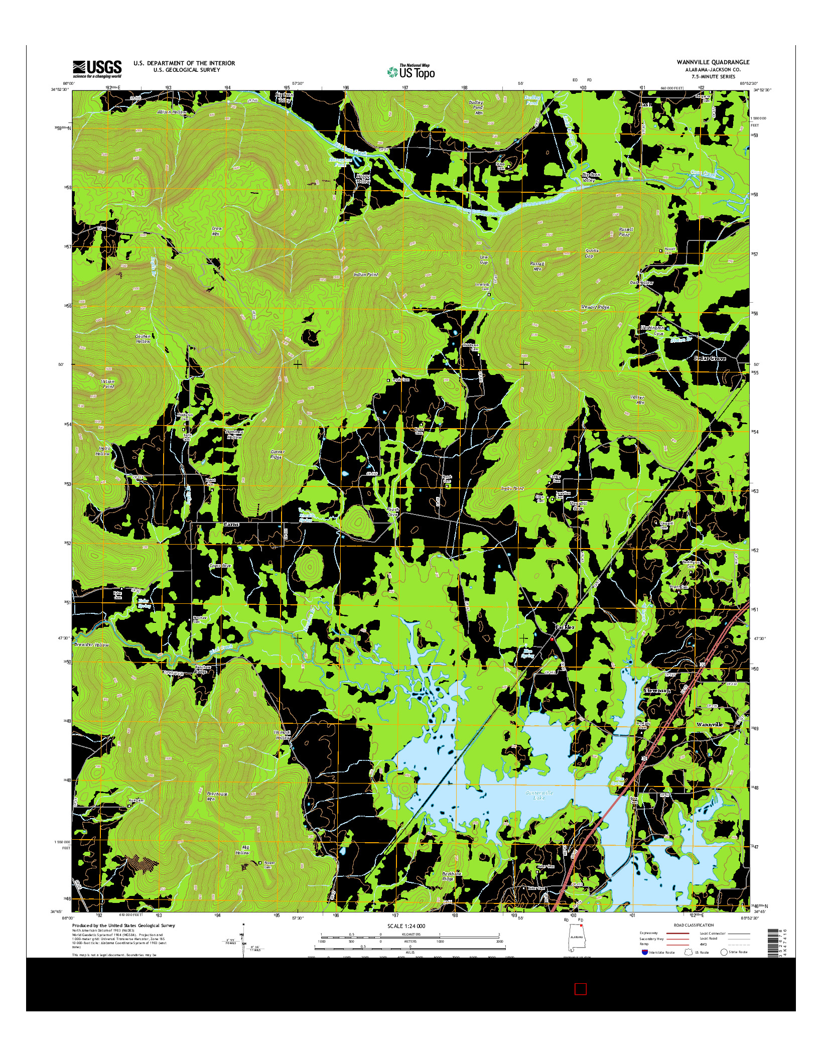 USGS US TOPO 7.5-MINUTE MAP FOR WANNVILLE, AL 2014