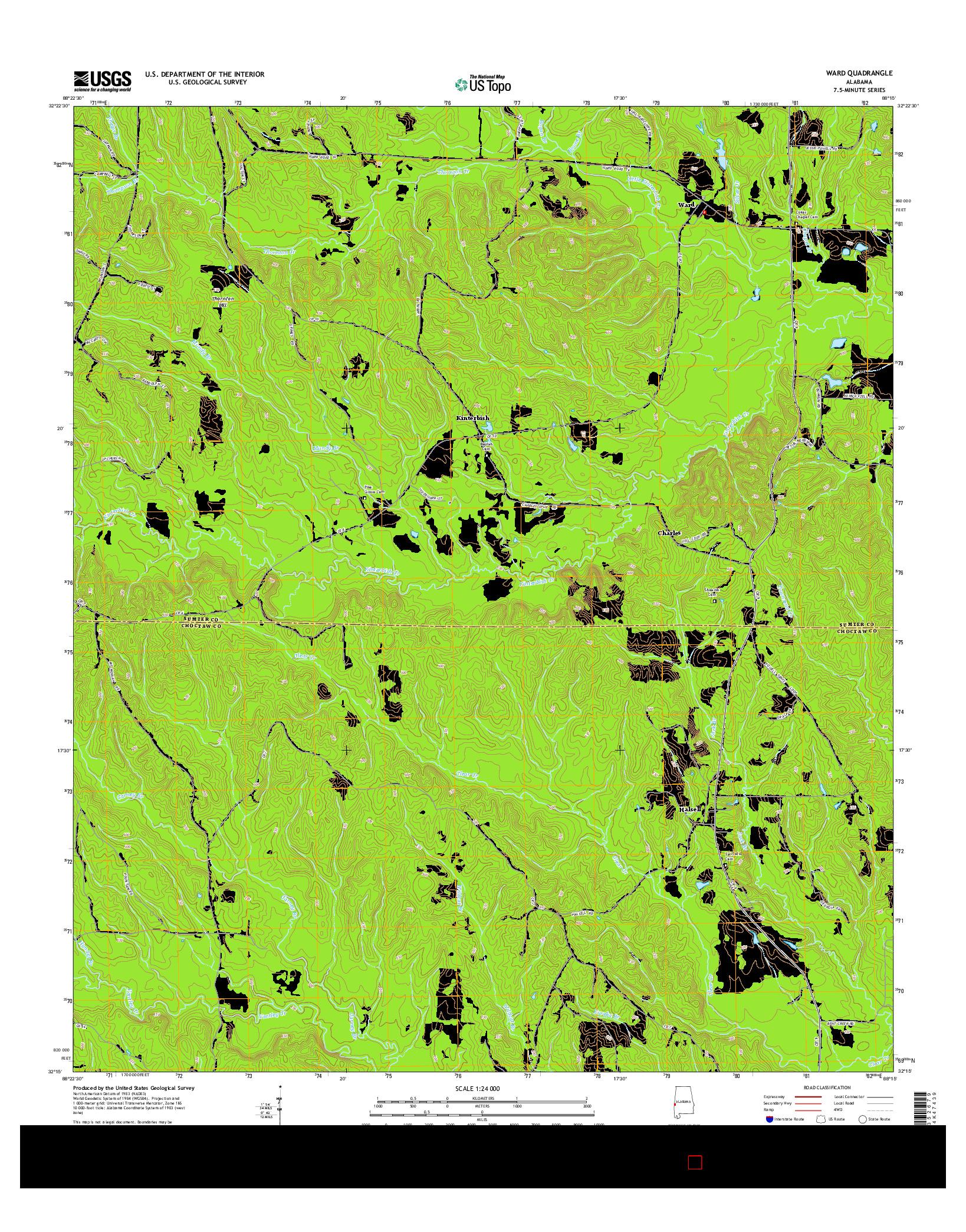 USGS US TOPO 7.5-MINUTE MAP FOR WARD, AL 2014