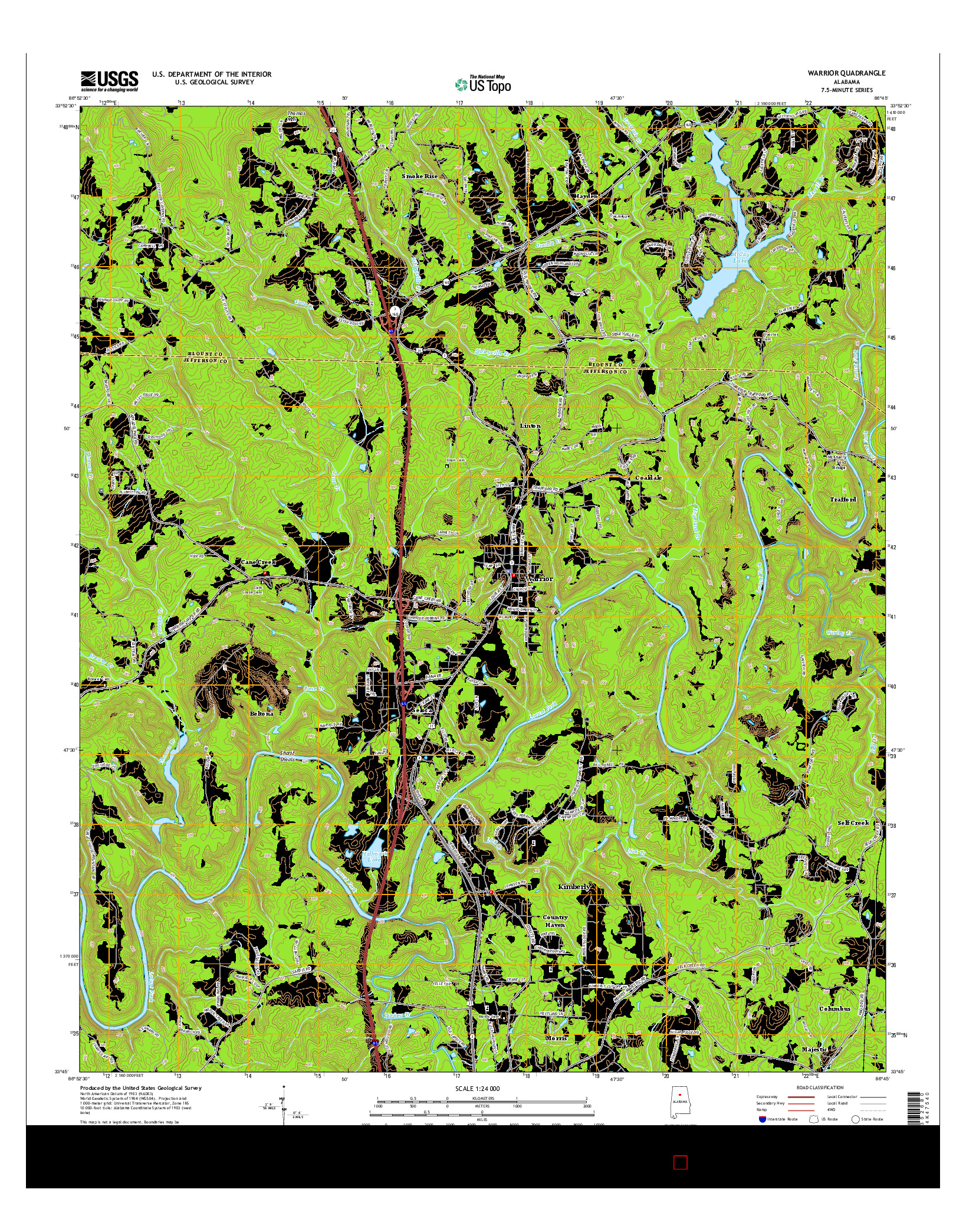 USGS US TOPO 7.5-MINUTE MAP FOR WARRIOR, AL 2014