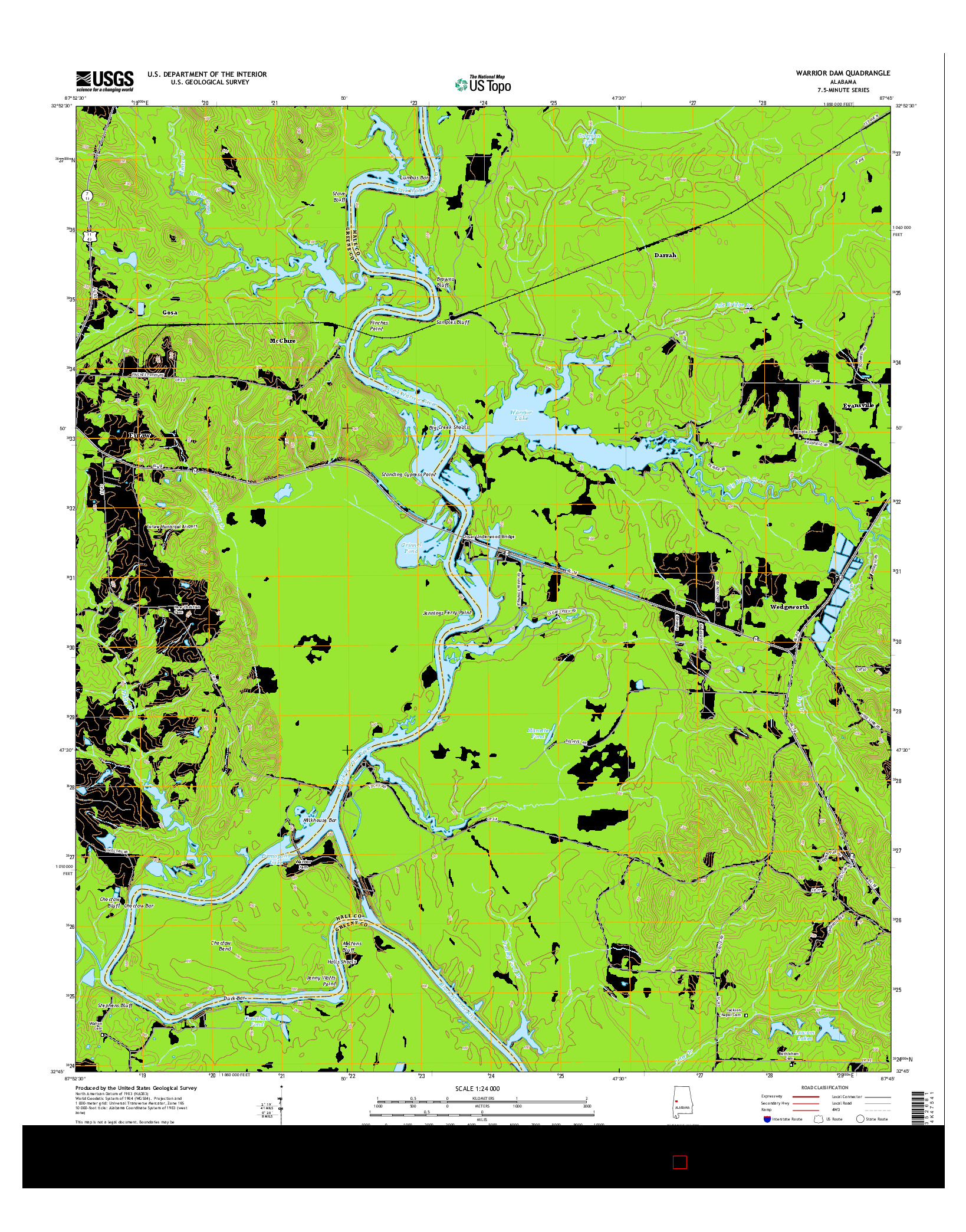 USGS US TOPO 7.5-MINUTE MAP FOR WARRIOR DAM, AL 2014