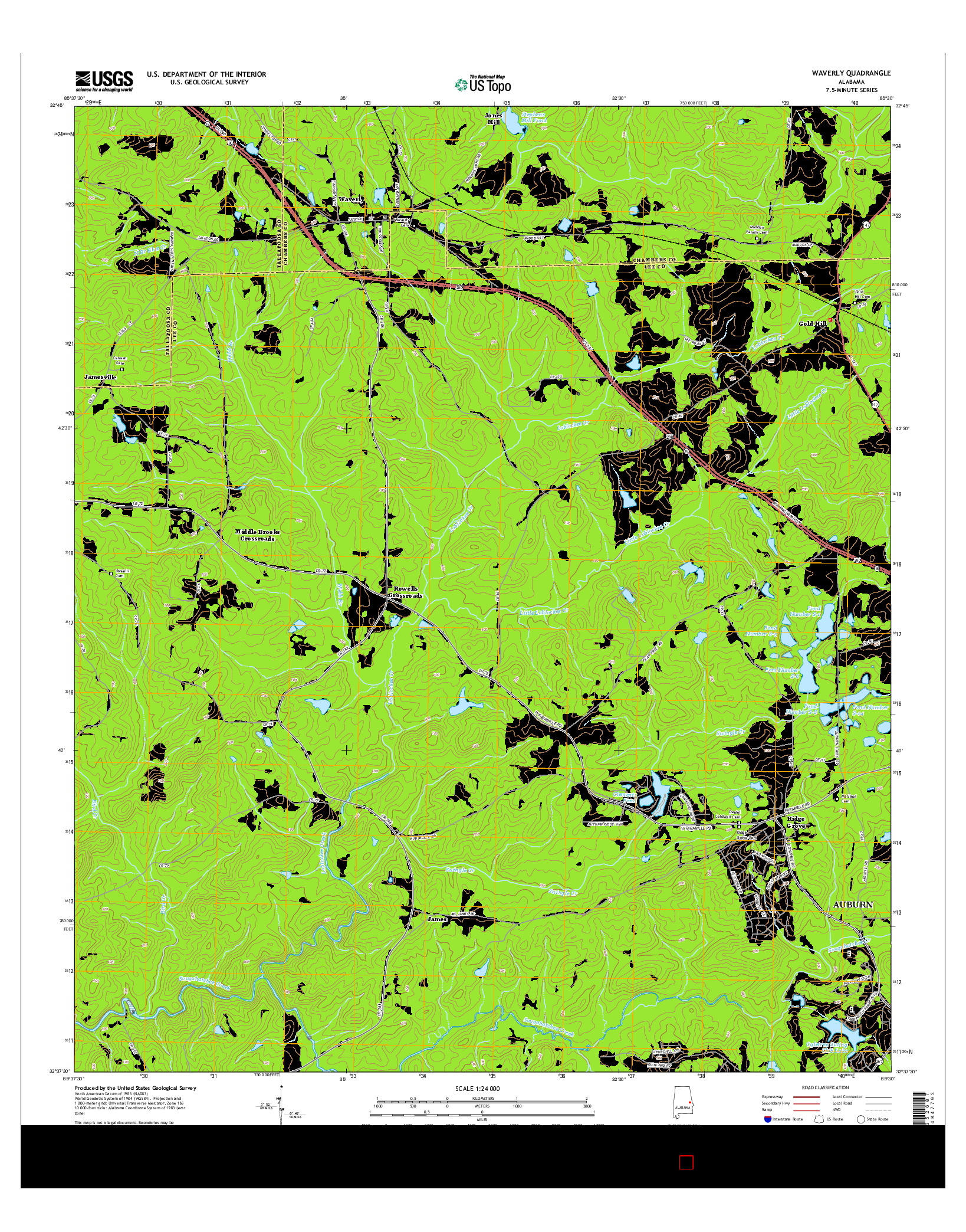 USGS US TOPO 7.5-MINUTE MAP FOR WAVERLY, AL 2014