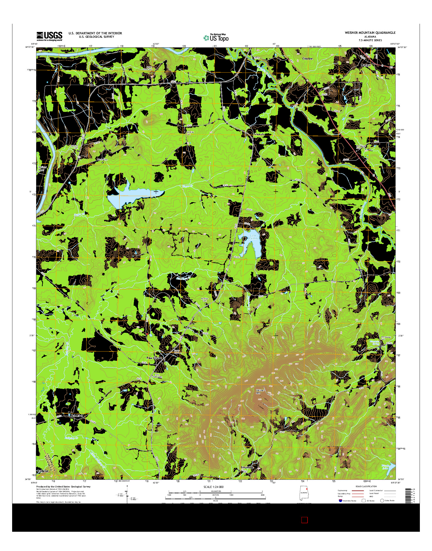 USGS US TOPO 7.5-MINUTE MAP FOR WEISNER MOUNTAIN, AL 2014