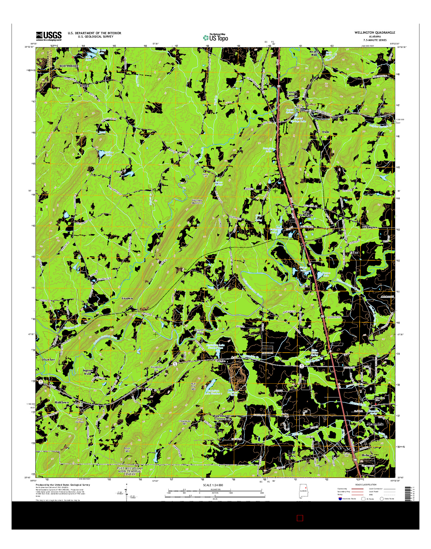 USGS US TOPO 7.5-MINUTE MAP FOR WELLINGTON, AL 2014