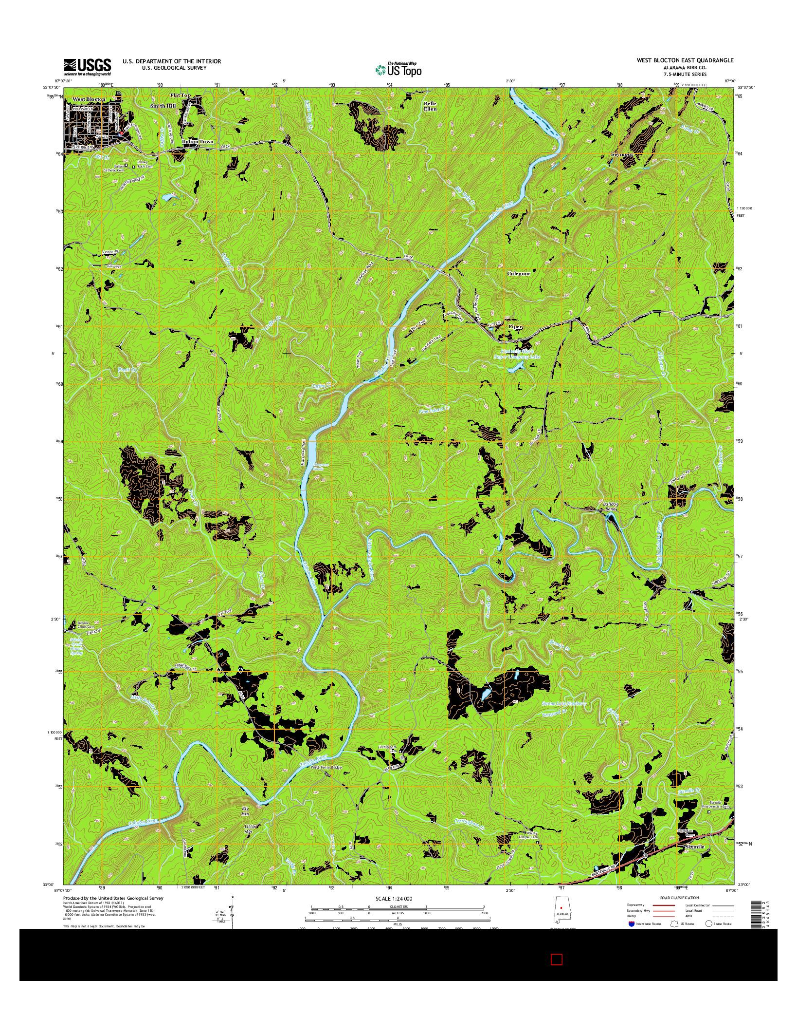 USGS US TOPO 7.5-MINUTE MAP FOR WEST BLOCTON EAST, AL 2014