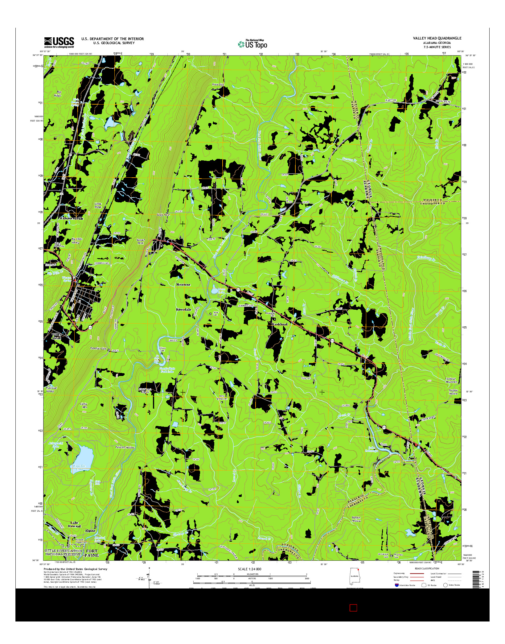 USGS US TOPO 7.5-MINUTE MAP FOR VALLEY HEAD, AL-GA 2014