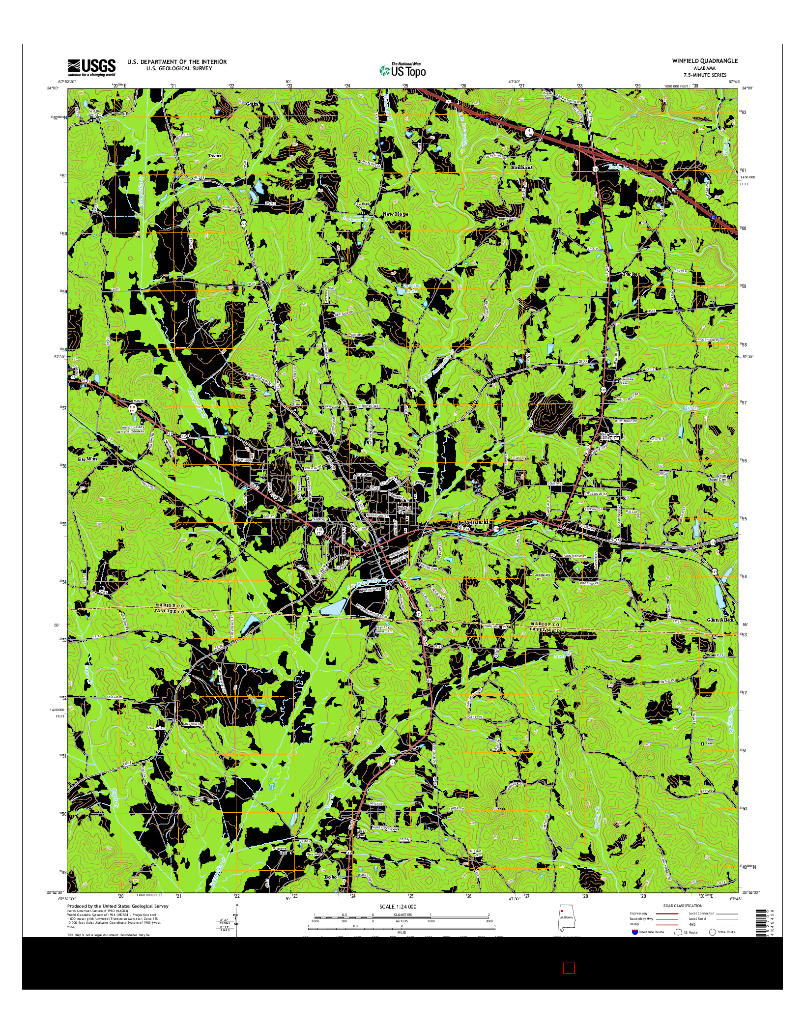 USGS US TOPO 7.5-MINUTE MAP FOR WINFIELD, AL 2014
