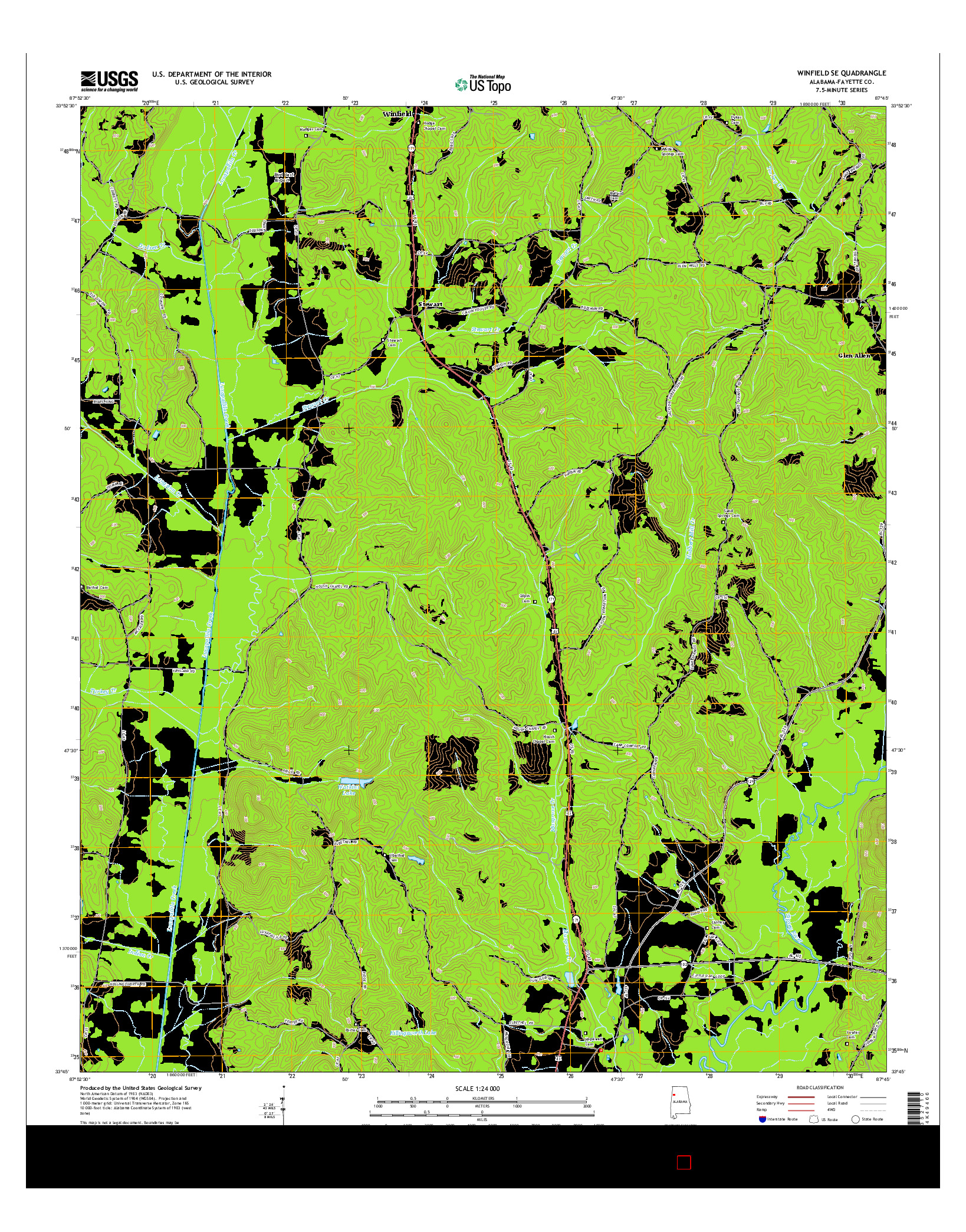 USGS US TOPO 7.5-MINUTE MAP FOR WINFIELD SE, AL 2014