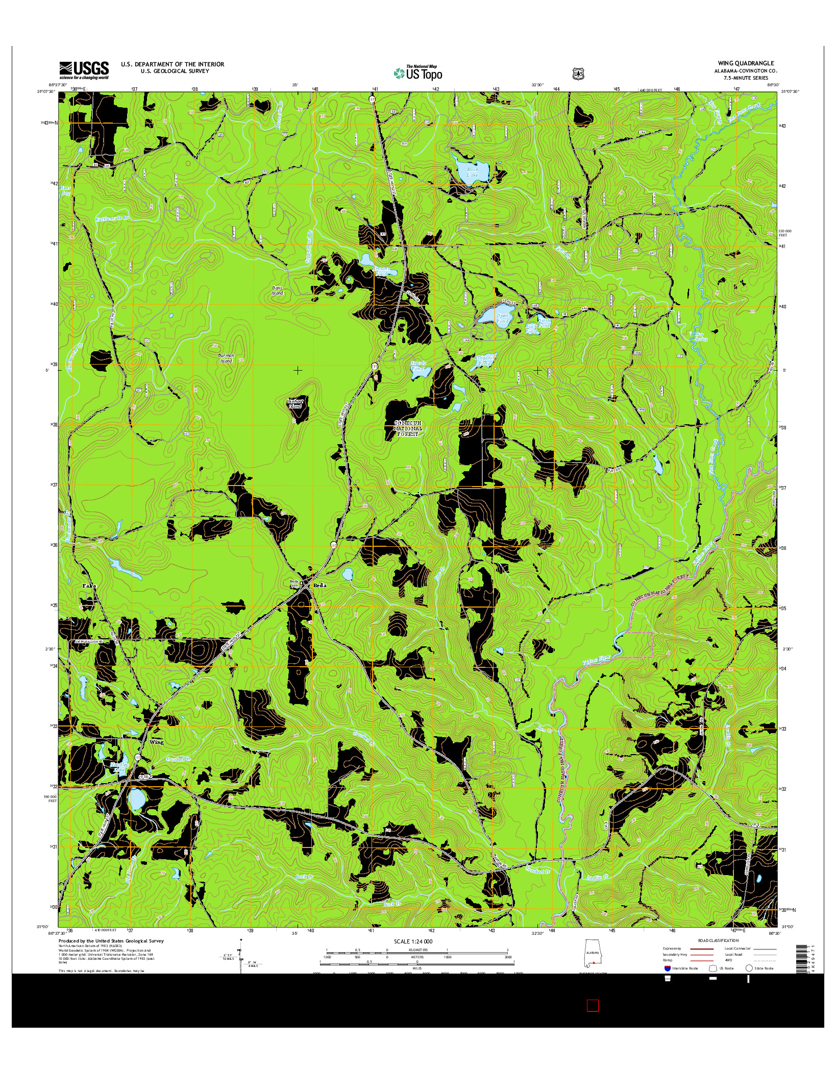 USGS US TOPO 7.5-MINUTE MAP FOR WING, AL 2014