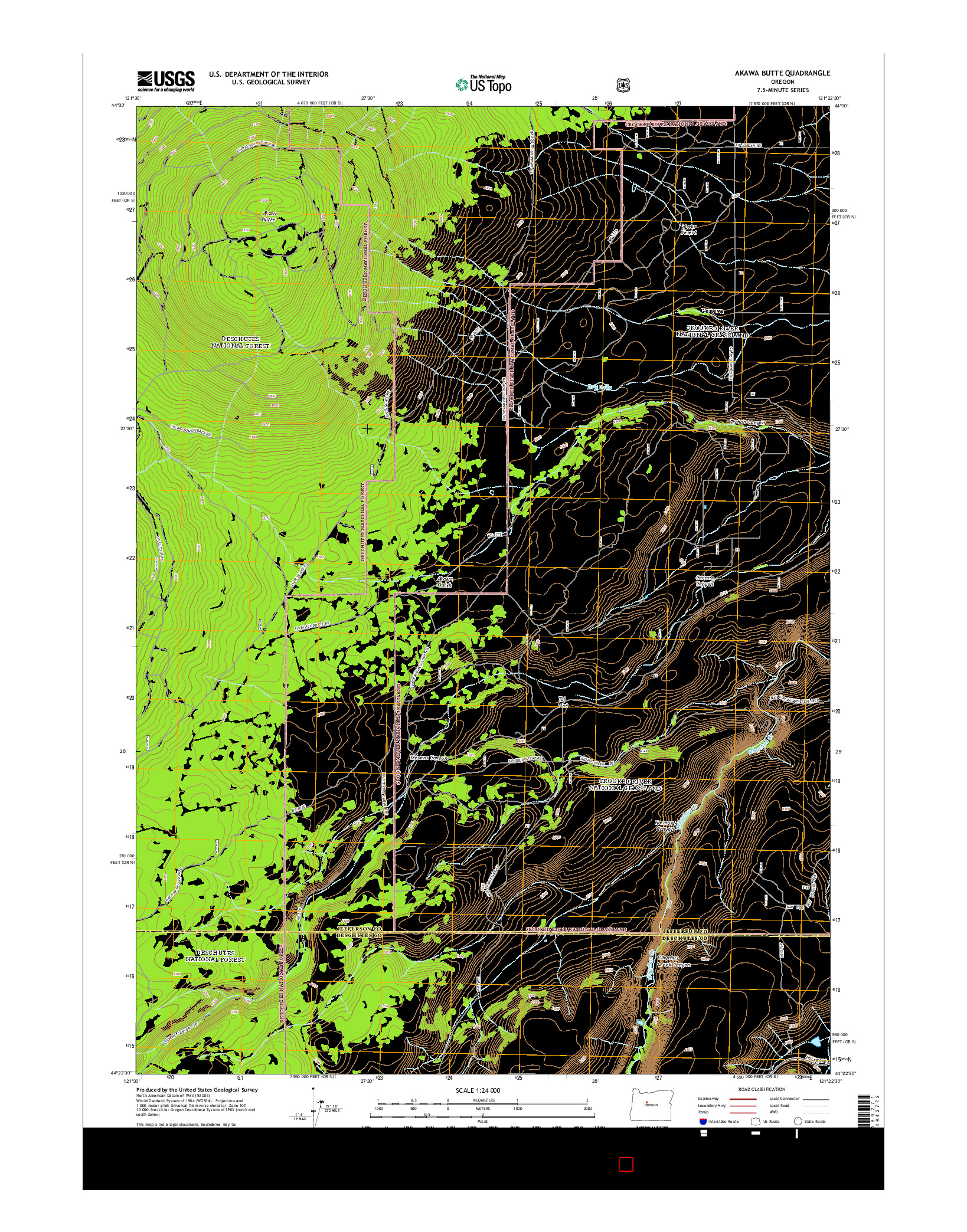 USGS US TOPO 7.5-MINUTE MAP FOR AKAWA BUTTE, OR 2014