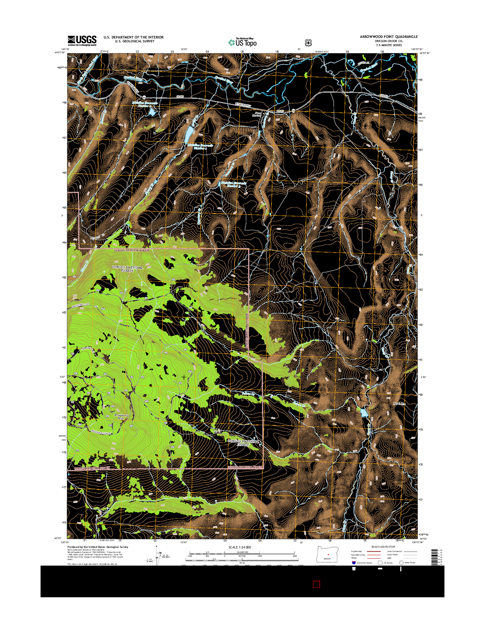 USGS US TOPO 7.5-MINUTE MAP FOR ARROWWOOD POINT, OR 2014