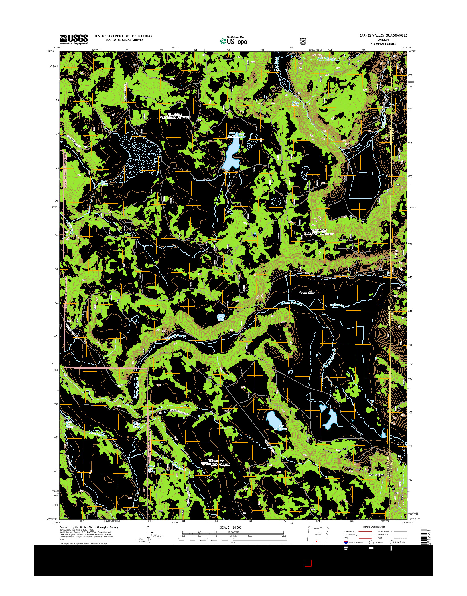 USGS US TOPO 7.5-MINUTE MAP FOR BARNES VALLEY, OR 2014