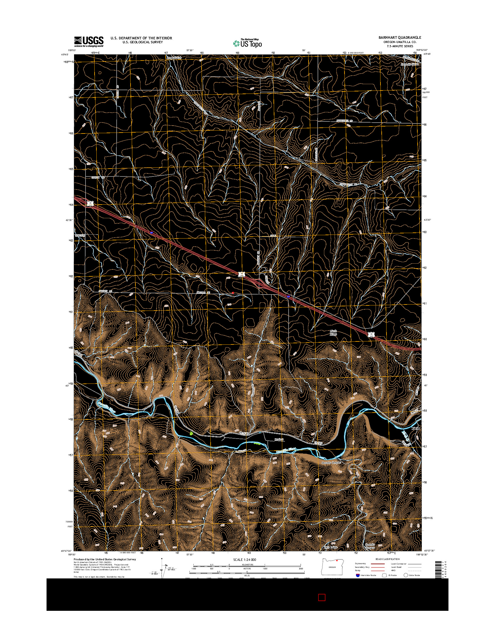 USGS US TOPO 7.5-MINUTE MAP FOR BARNHART, OR 2014