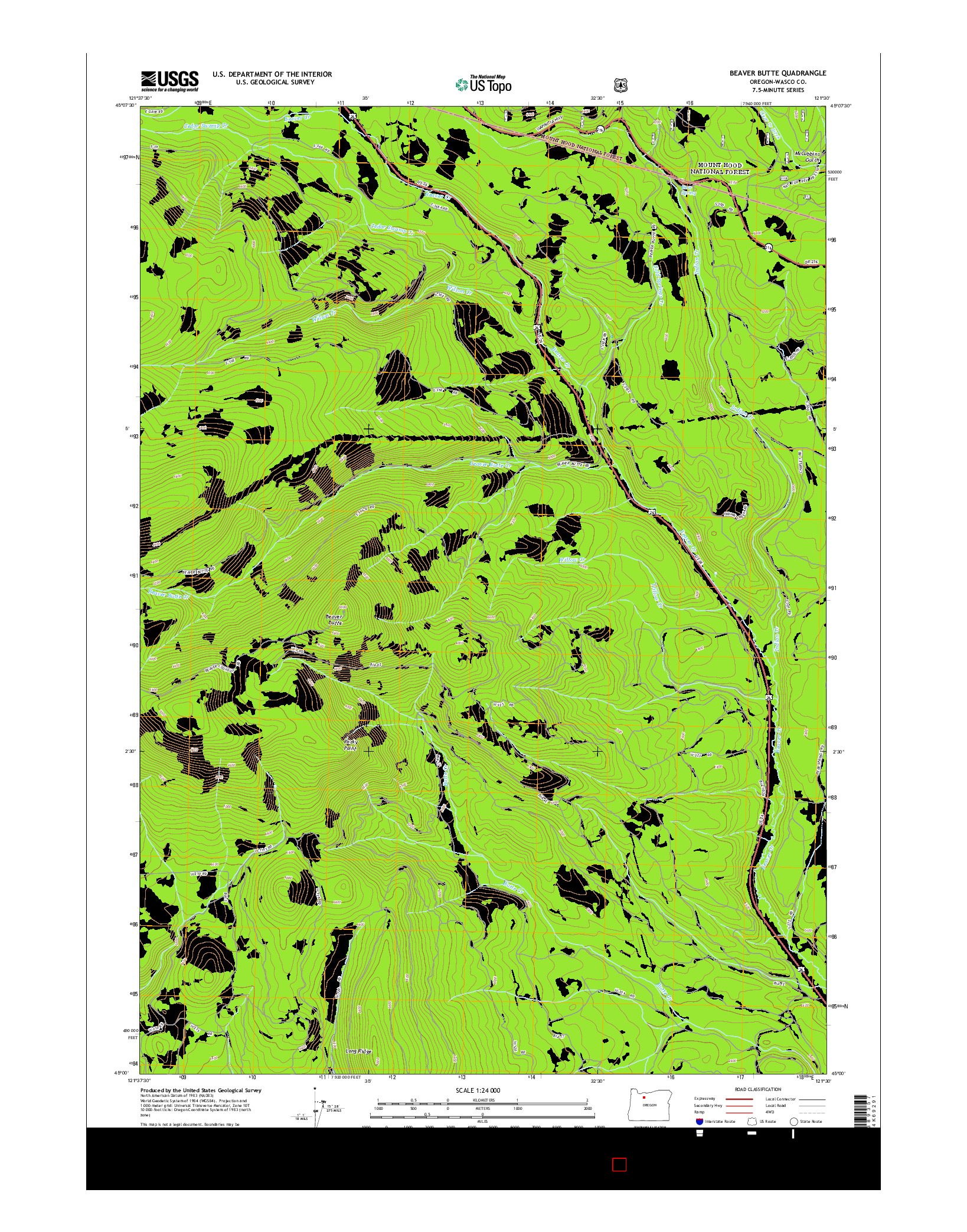 USGS US TOPO 7.5-MINUTE MAP FOR BEAVER BUTTE, OR 2014