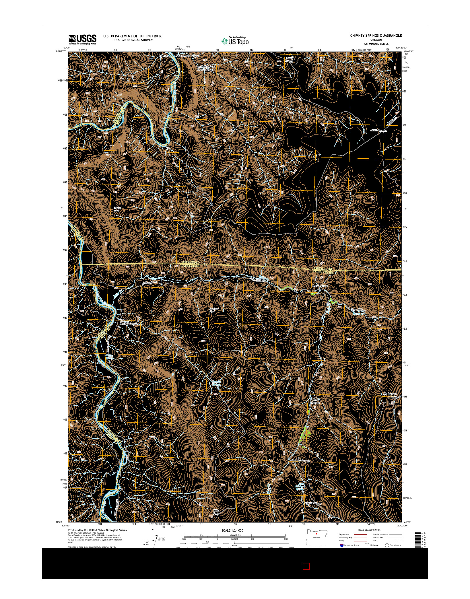 USGS US TOPO 7.5-MINUTE MAP FOR CHIMNEY SPRINGS, OR 2014