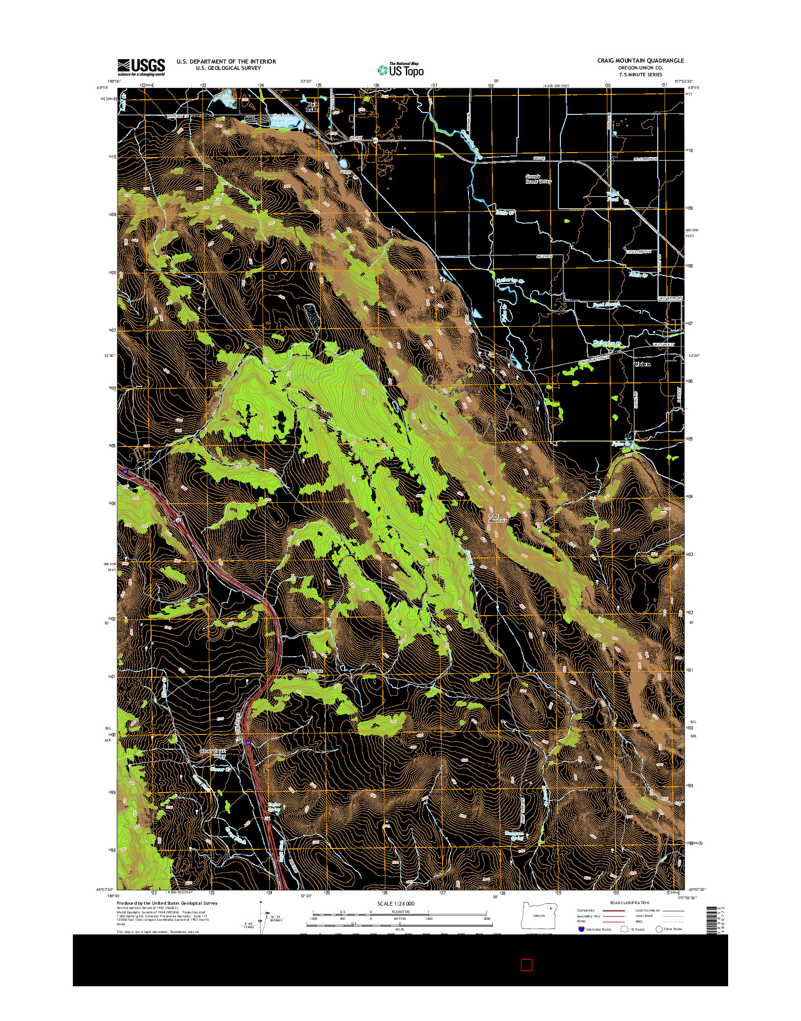 USGS US TOPO 7.5-MINUTE MAP FOR CRAIG MOUNTAIN, OR 2014
