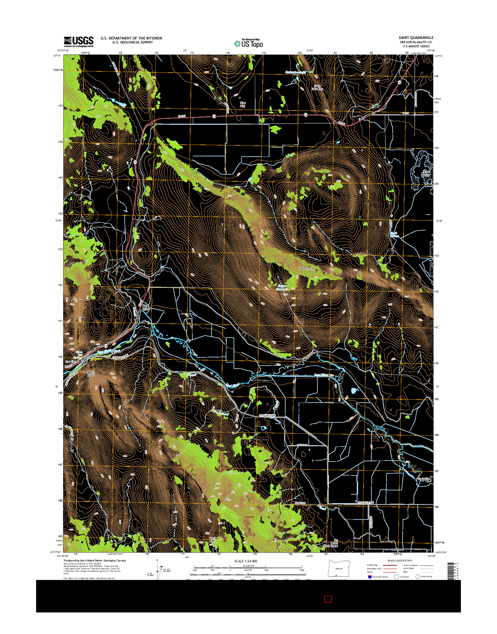 USGS US TOPO 7.5-MINUTE MAP FOR DAIRY, OR 2014