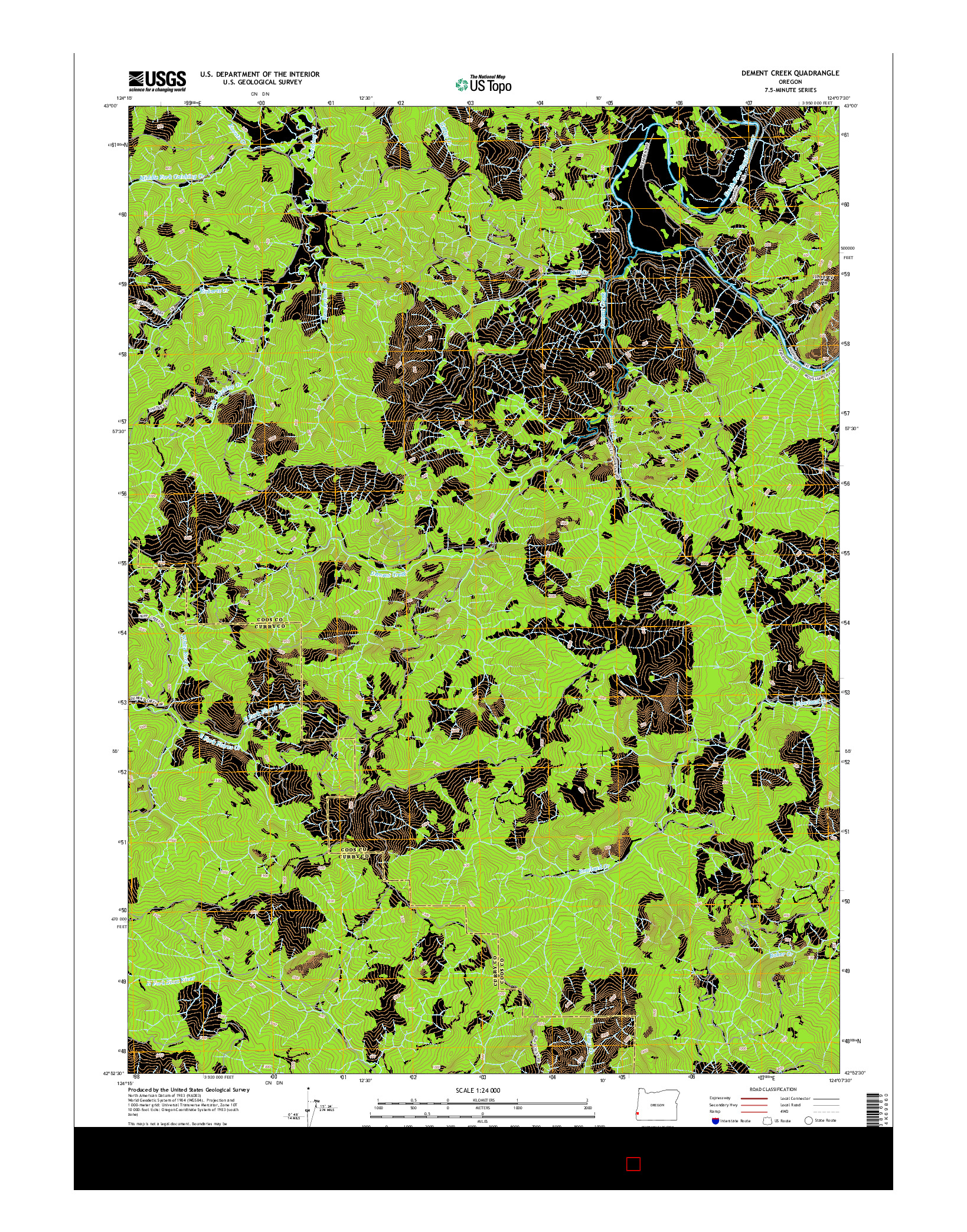 USGS US TOPO 7.5-MINUTE MAP FOR DEMENT CREEK, OR 2014