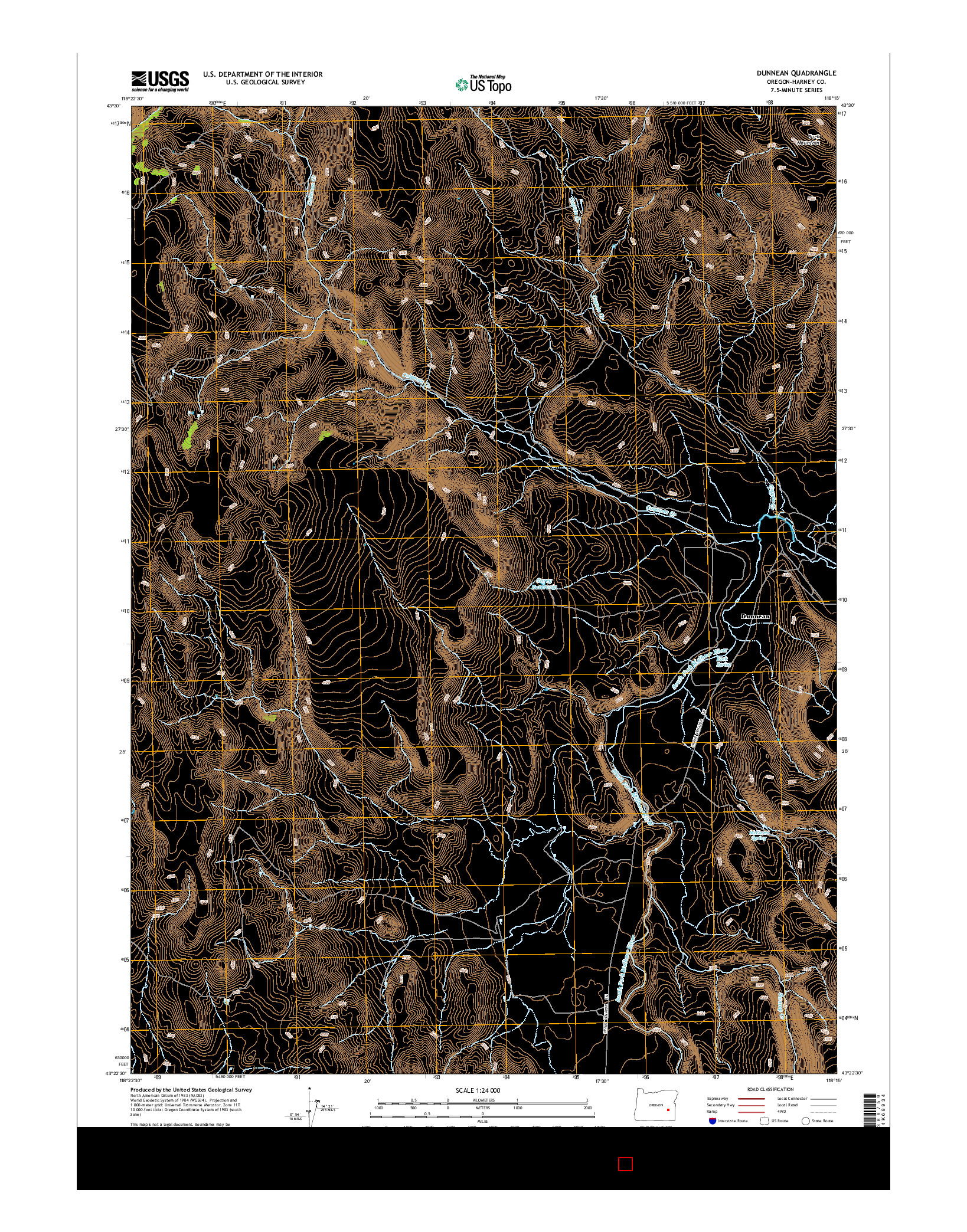 USGS US TOPO 7.5-MINUTE MAP FOR DUNNEAN, OR 2014