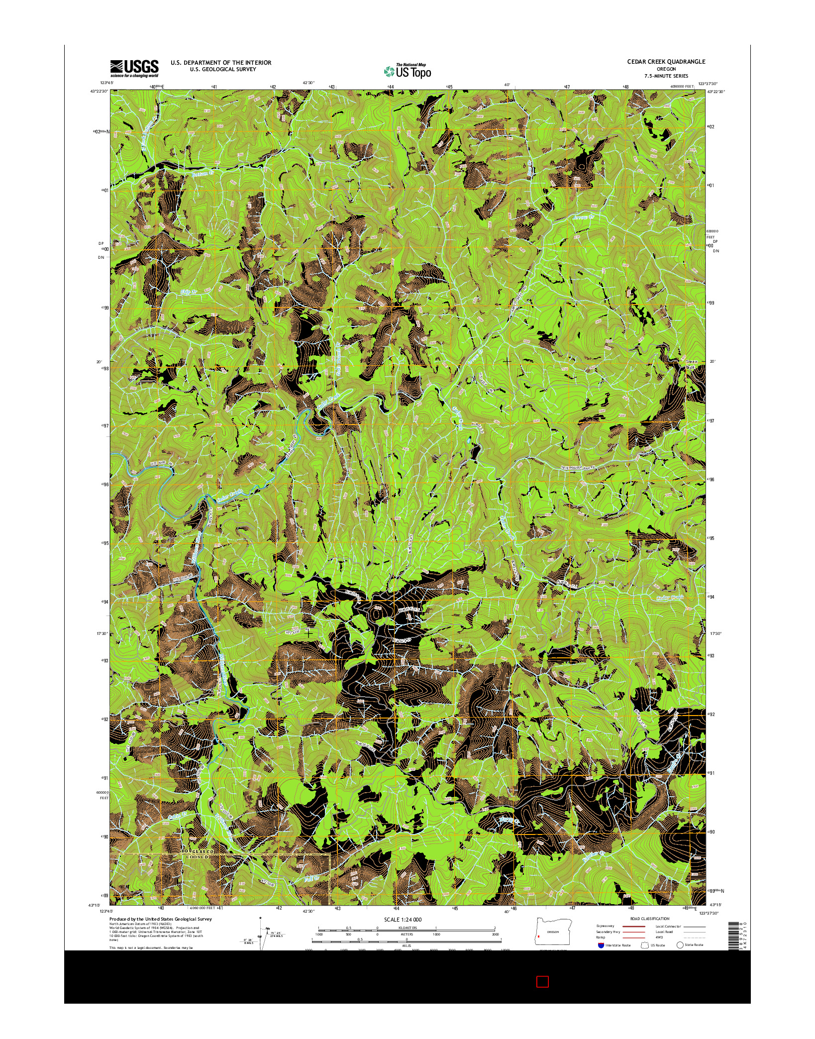 USGS US TOPO 7.5-MINUTE MAP FOR CEDAR CREEK, OR 2014