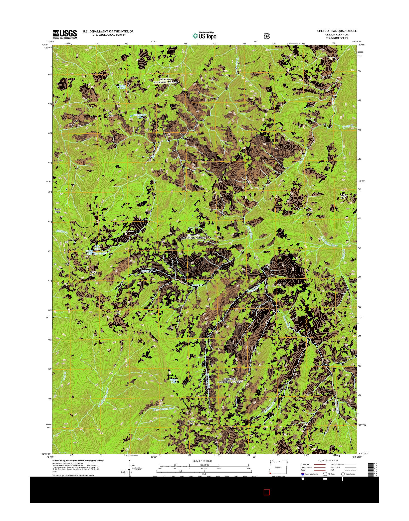 USGS US TOPO 7.5-MINUTE MAP FOR CHETCO PEAK, OR 2014