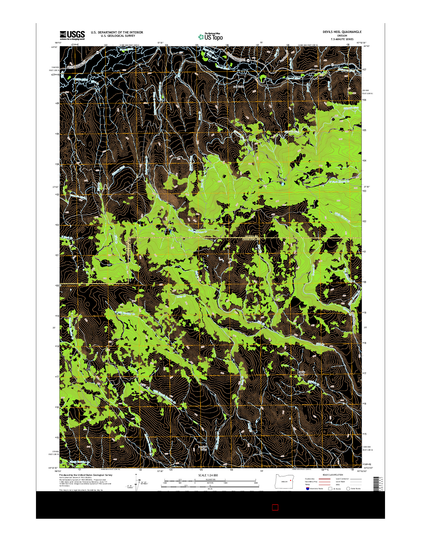 USGS US TOPO 7.5-MINUTE MAP FOR DEVILS HEEL, OR 2014