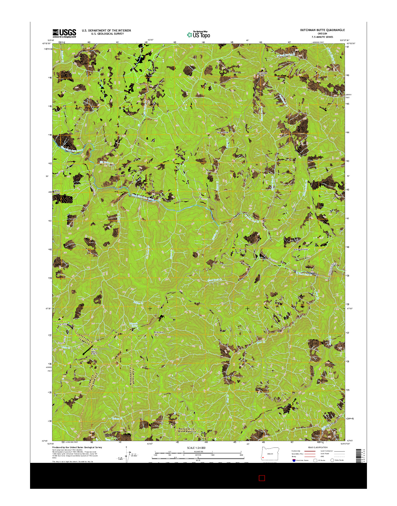 USGS US TOPO 7.5-MINUTE MAP FOR DUTCHMAN BUTTE, OR 2014